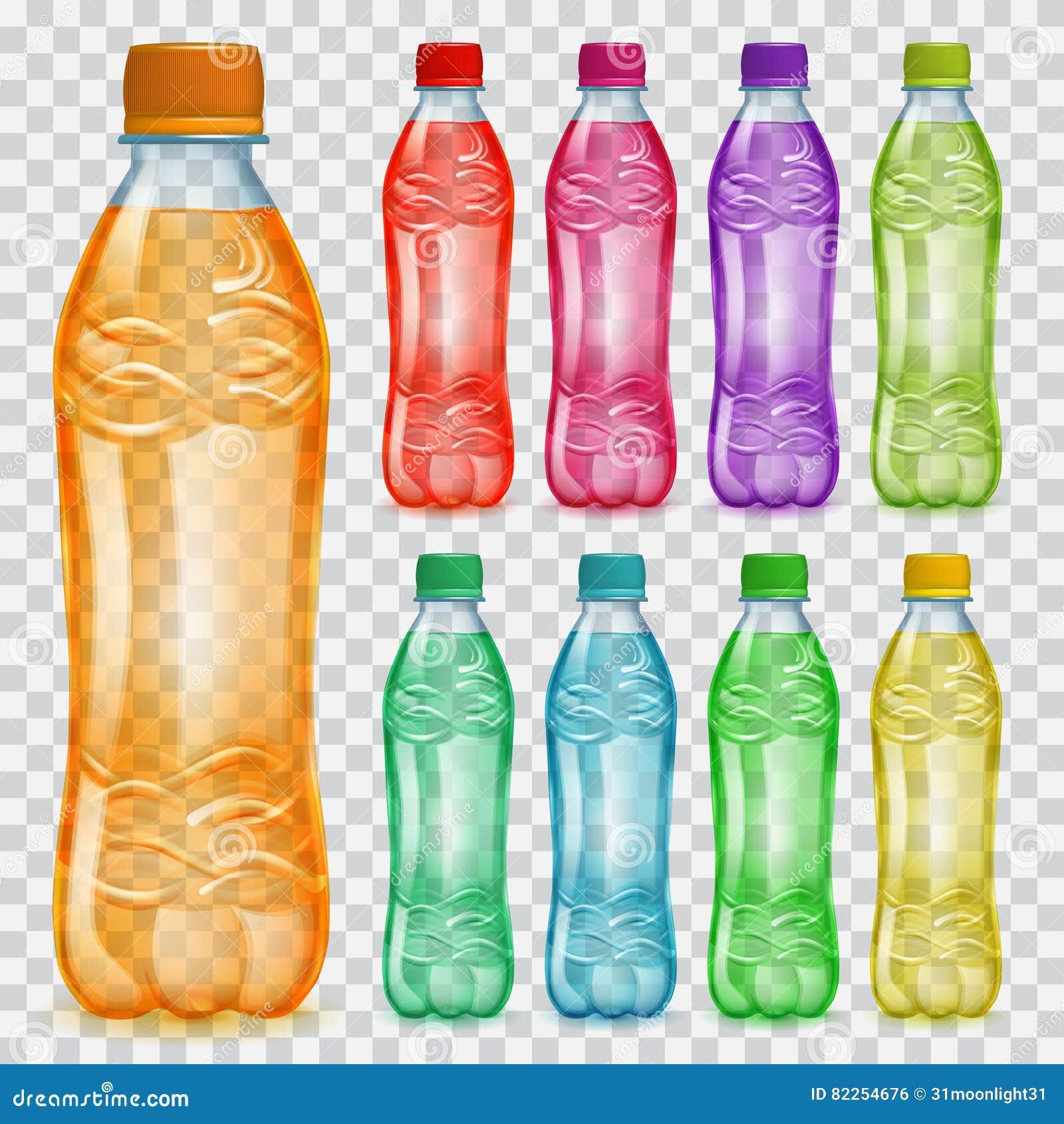Satz transparente Plastikflaschen mit mehrfarbigen Säften