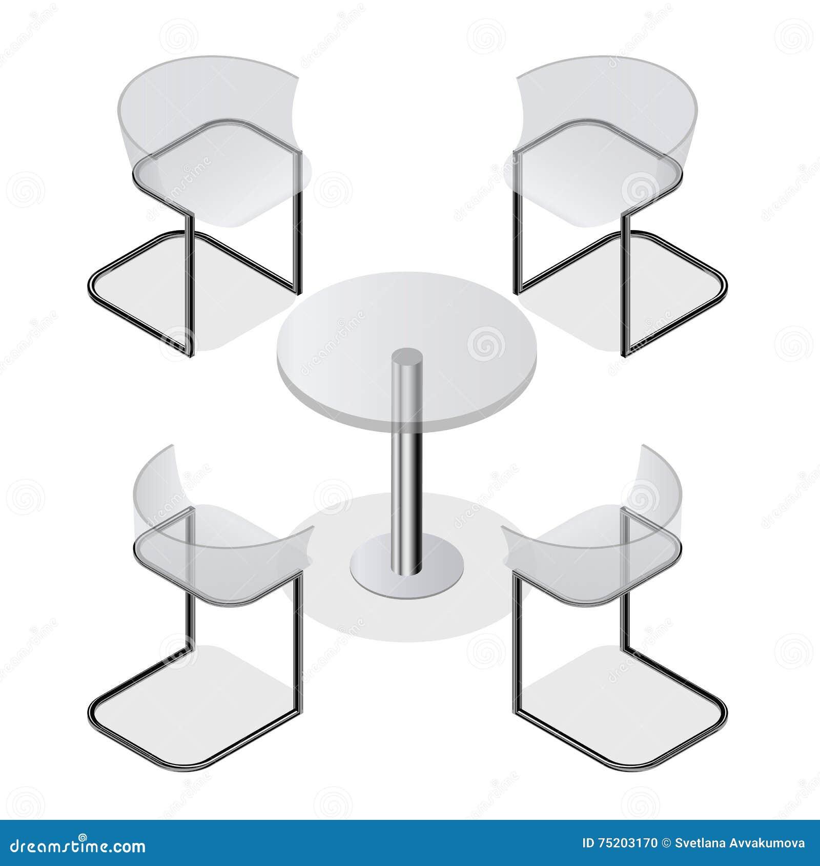 Satz Transparente Stühle Und Ein Rundtisch Für Die Küche Vektor ...