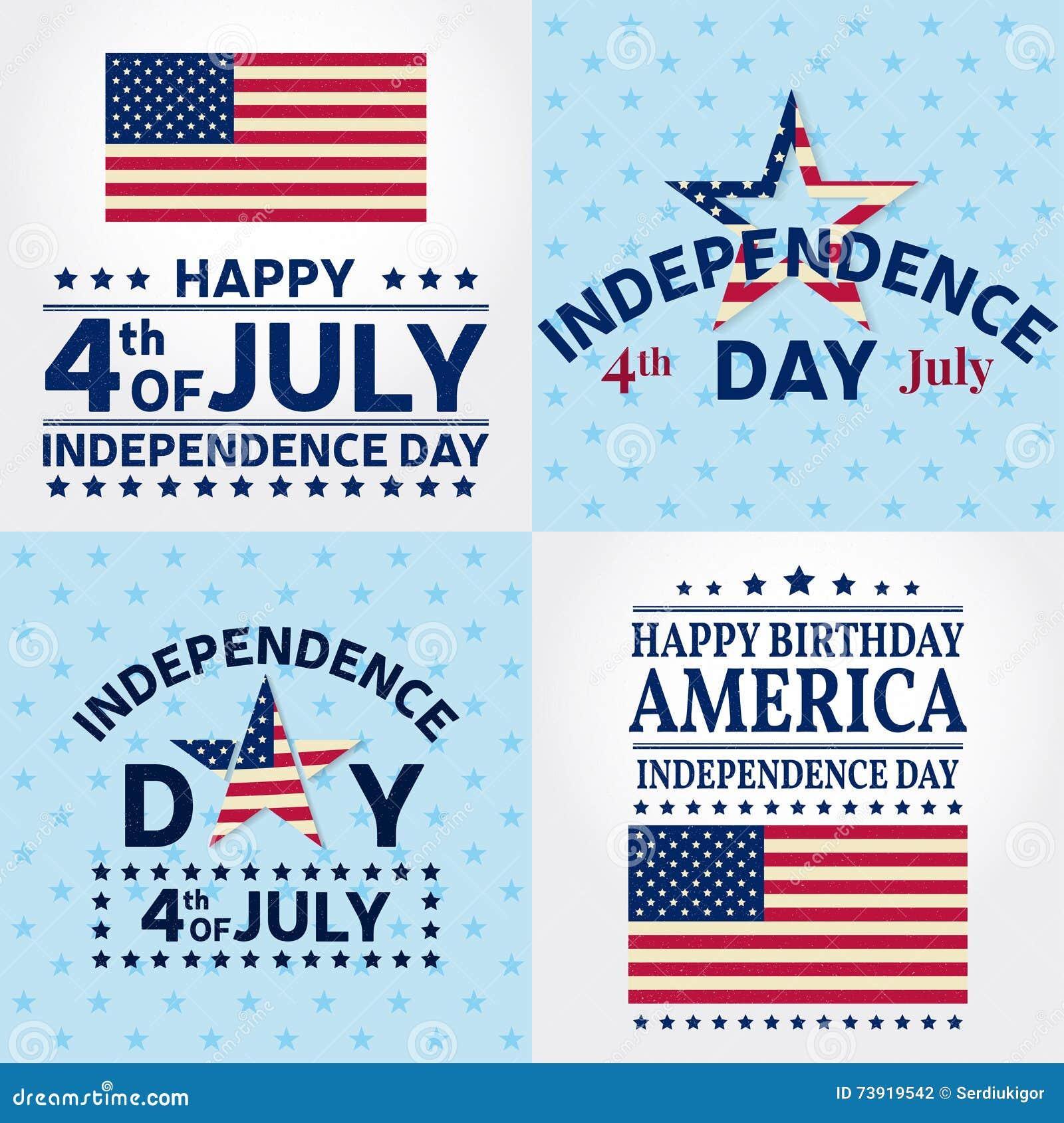 Satz Unabhängigkeitstaggrußkarten, Flieger Unabhängigkeitstagposter ...