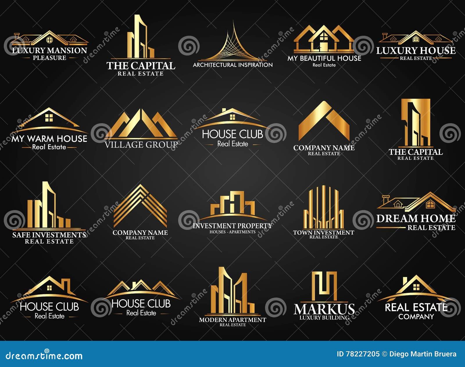 Satz Und Gruppe Real Estate, Gebäude Und Bau Logo Vector Design ...