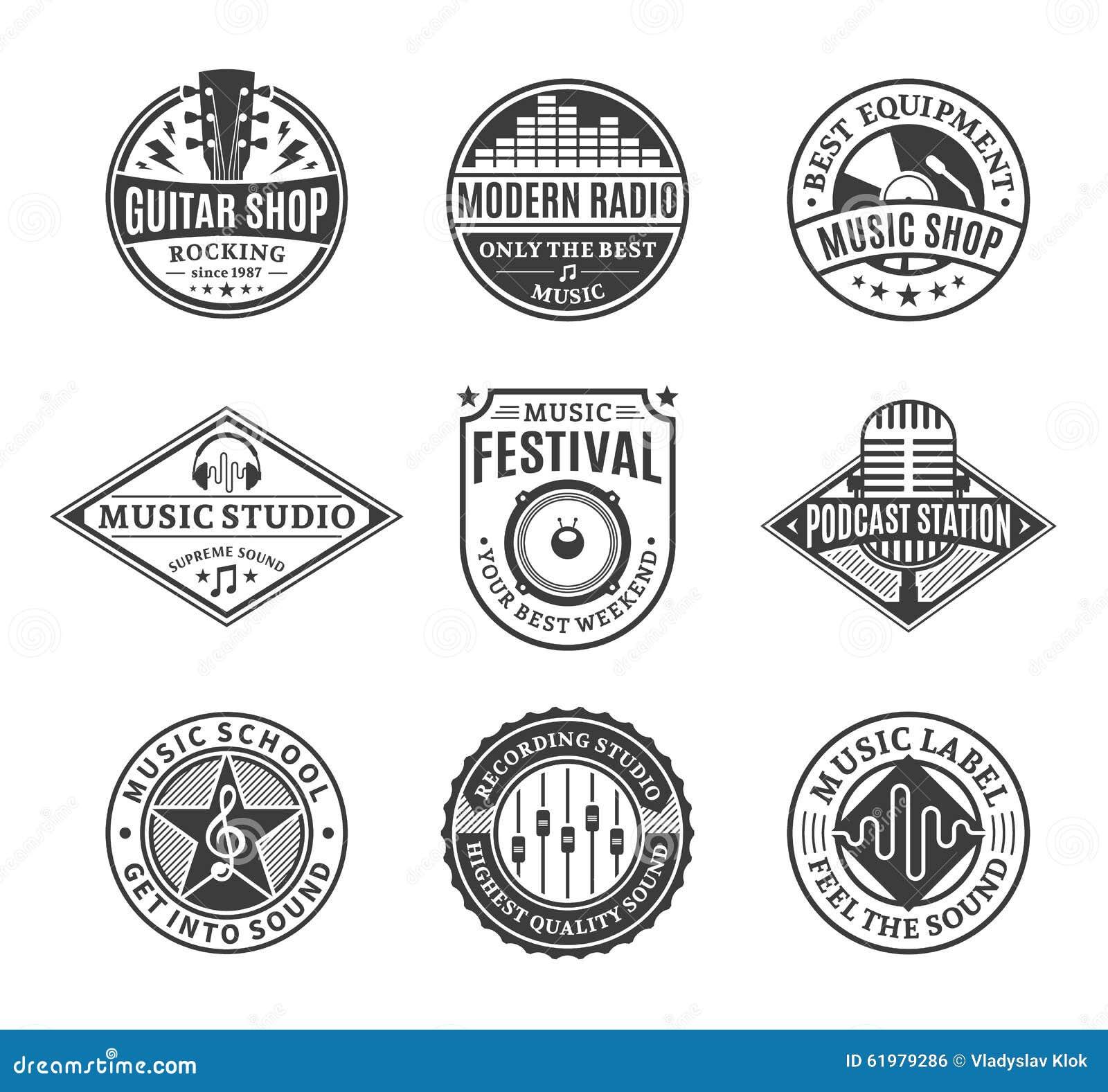 Satz Vektor-Musik-Logo, Ikonen und Gestaltungselemente