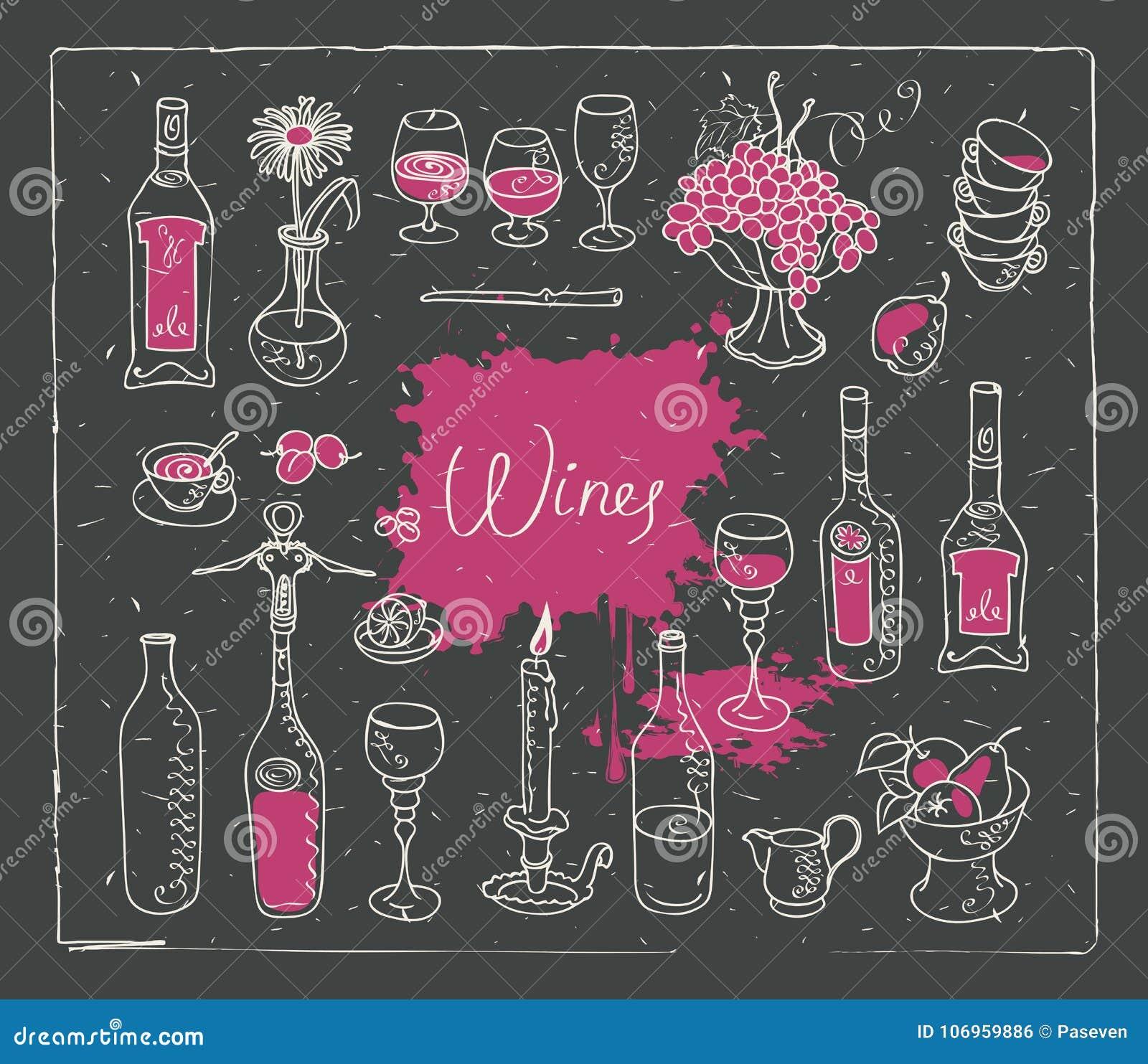 Satz Vektorbilder auf dem Thema des Weins