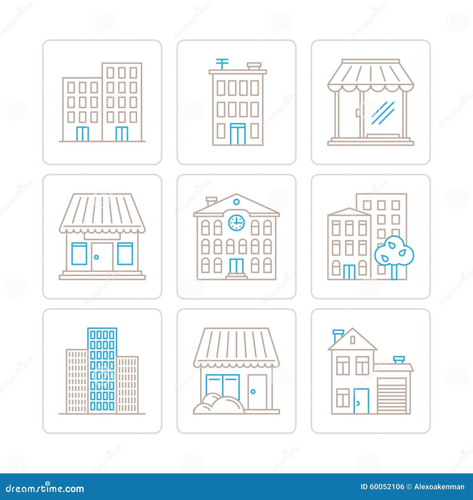 Satz Vektorgebäudeikonen und -konzepte in der dünnen monolinie Art