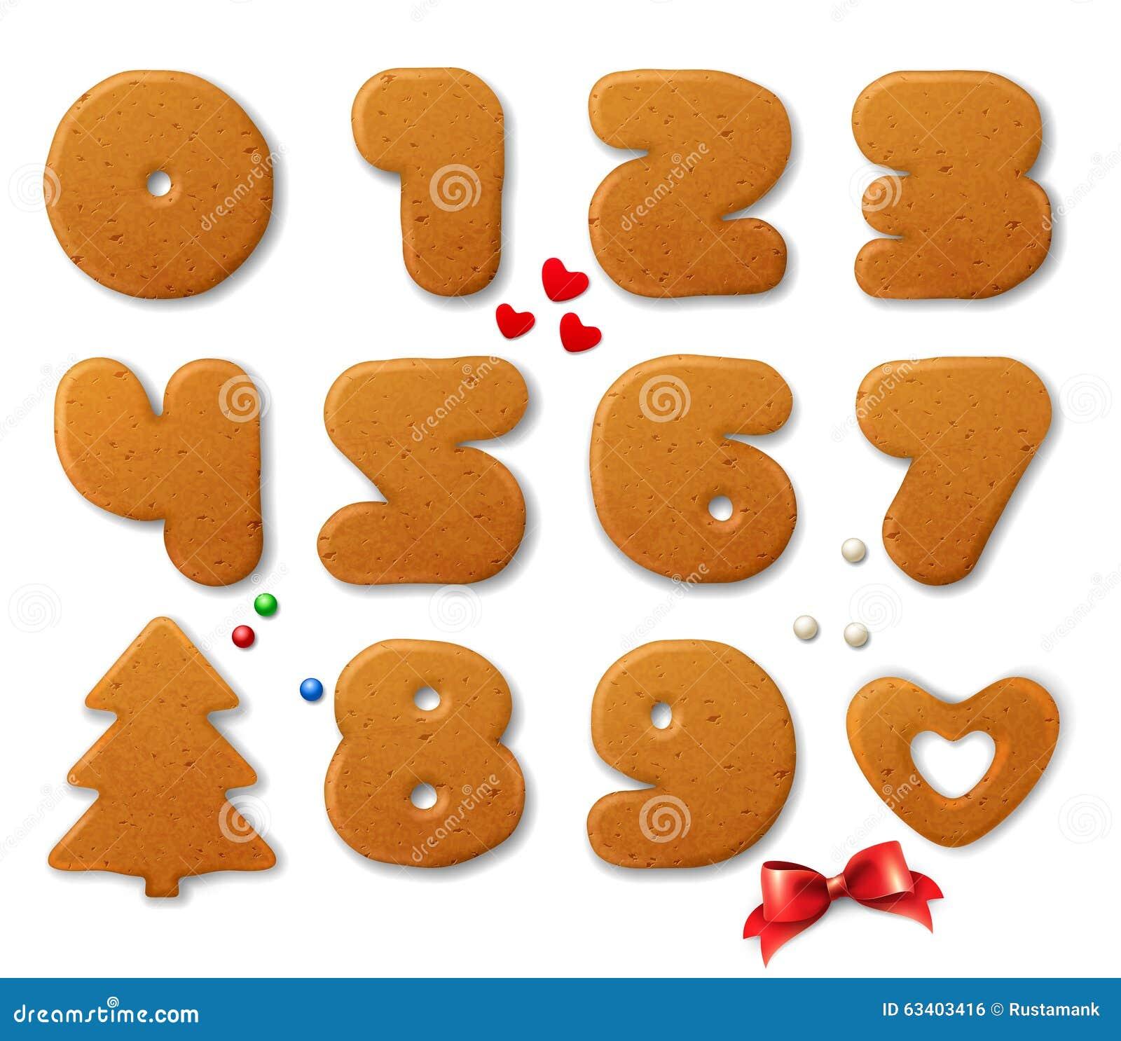 Satz Vektorzahlen in Form von Weihnachtslebkuchen mit Gestaltungselementen