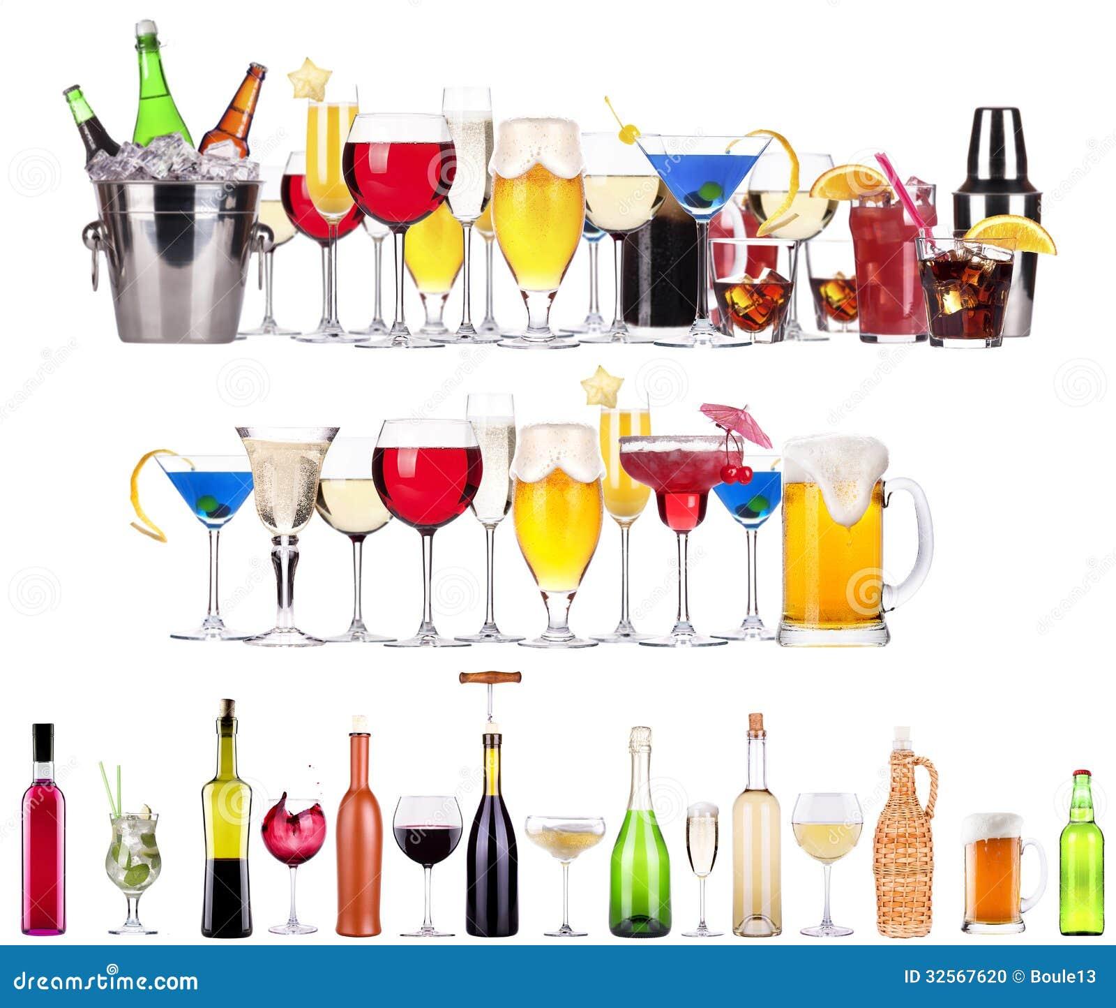 satz verschiedene alkoholische getr nke und cocktails stockfoto bild 32567620. Black Bedroom Furniture Sets. Home Design Ideas