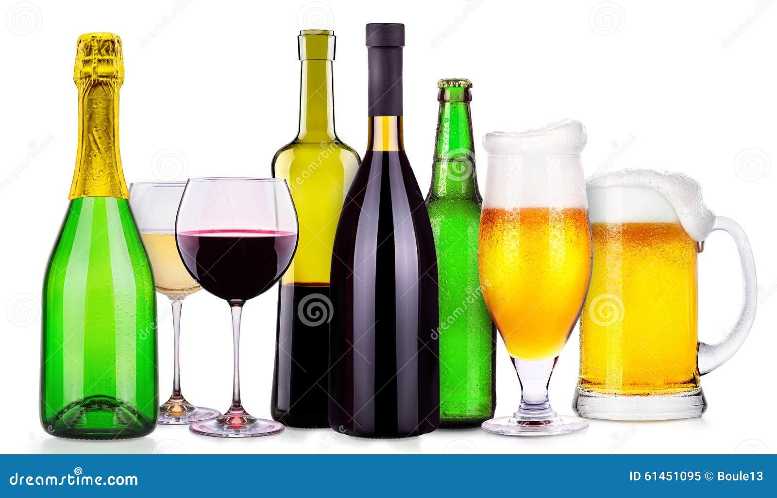 Satz Verschiedene Alkoholische Getränke Und Cocktails Stockbild ...