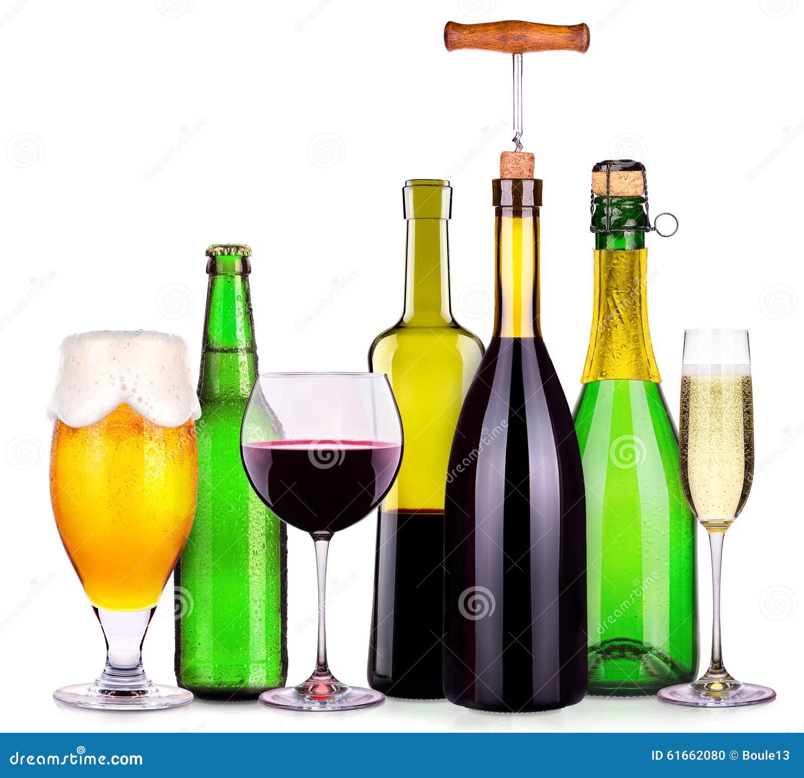 Satz Verschiedene Alkoholische Getränke Und Cocktails Stockfoto ...