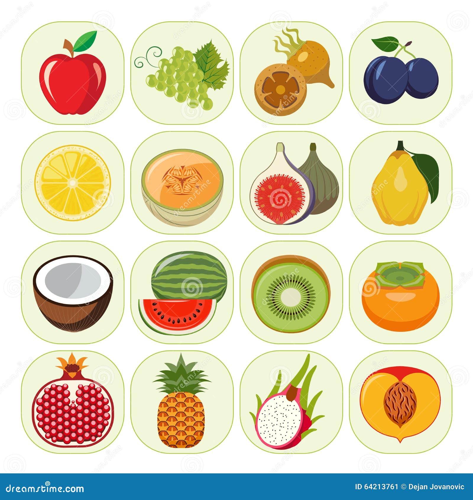 satz verschiedene arten von fruchtikonen stock abbildung illustration von granatapfel. Black Bedroom Furniture Sets. Home Design Ideas