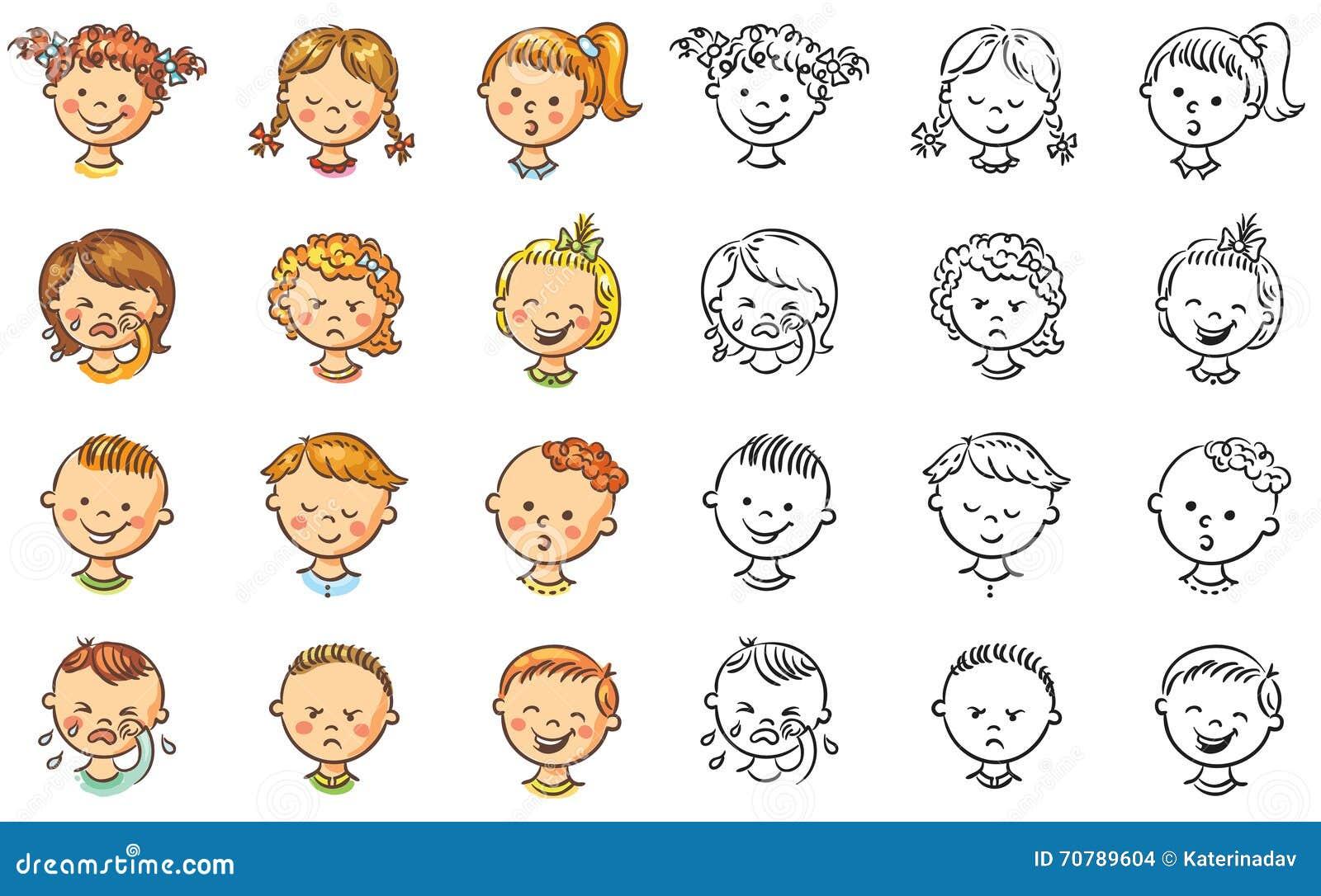 Satz Verschiedene Kinder Mit Verschiedenen Gefühlen Vektor ...