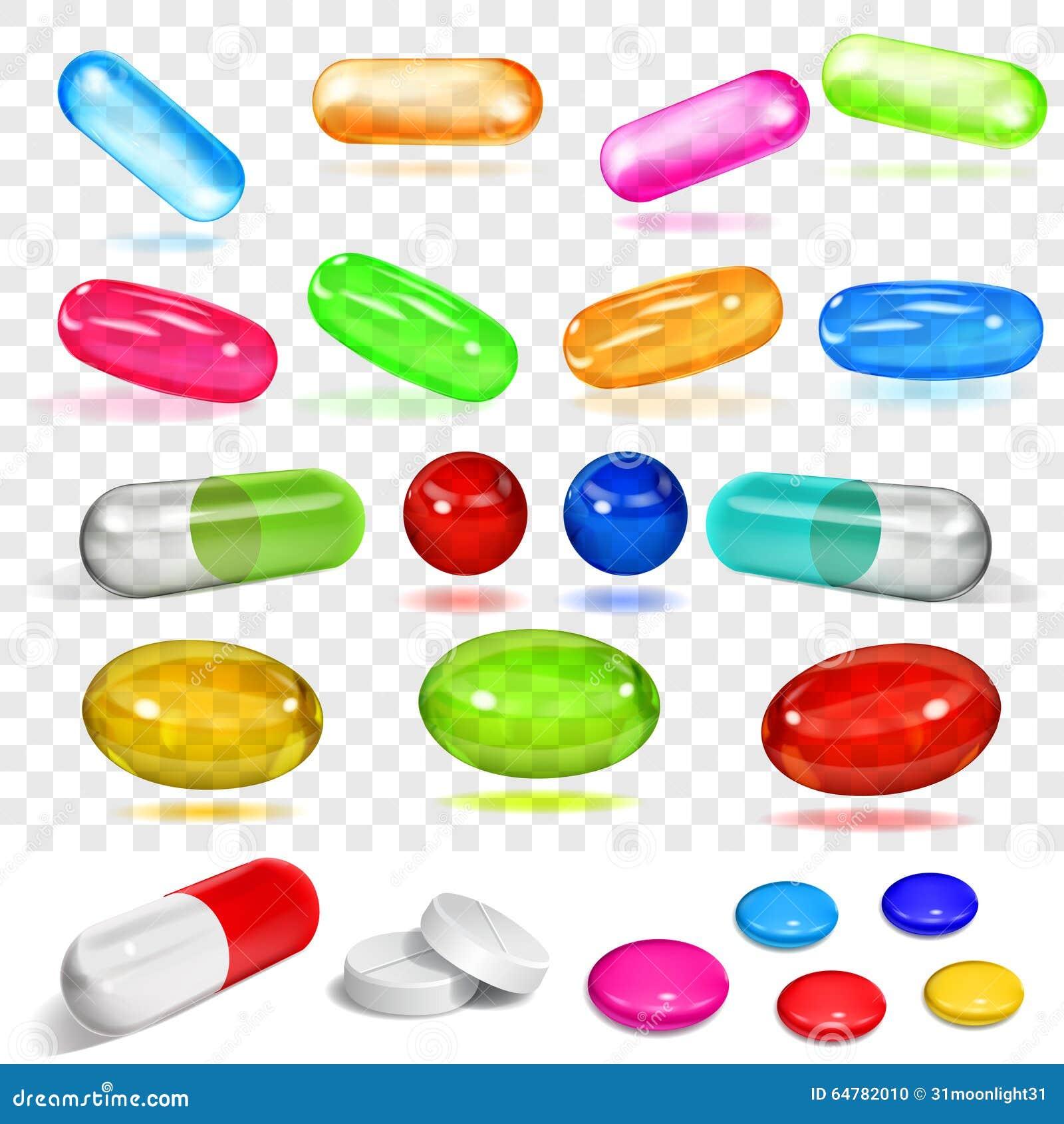 Satz verschiedene mehrfarbige Kapseln und Pillen