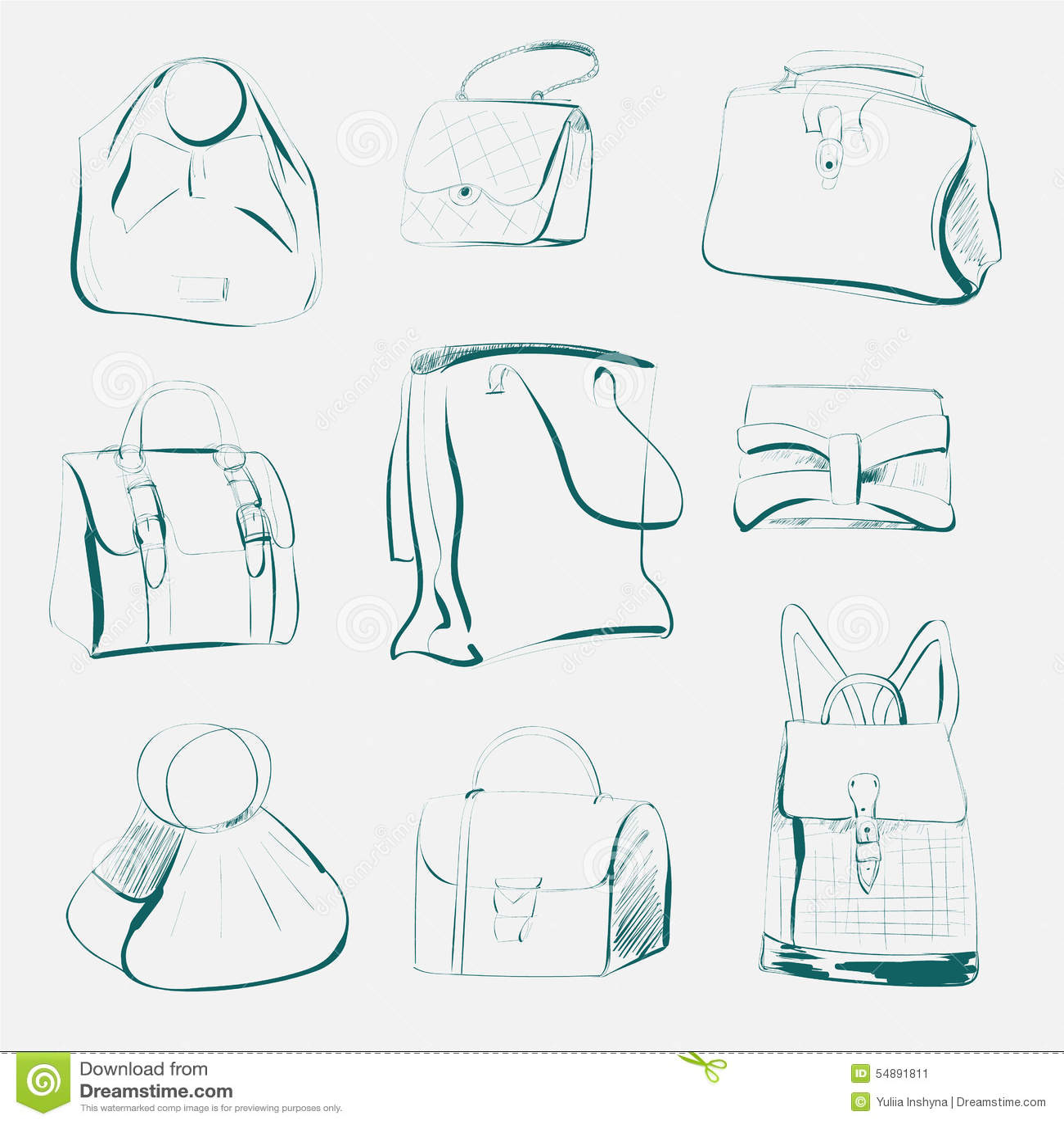 b6ed80eafa06c Satz verschiedene modische Handtaschen