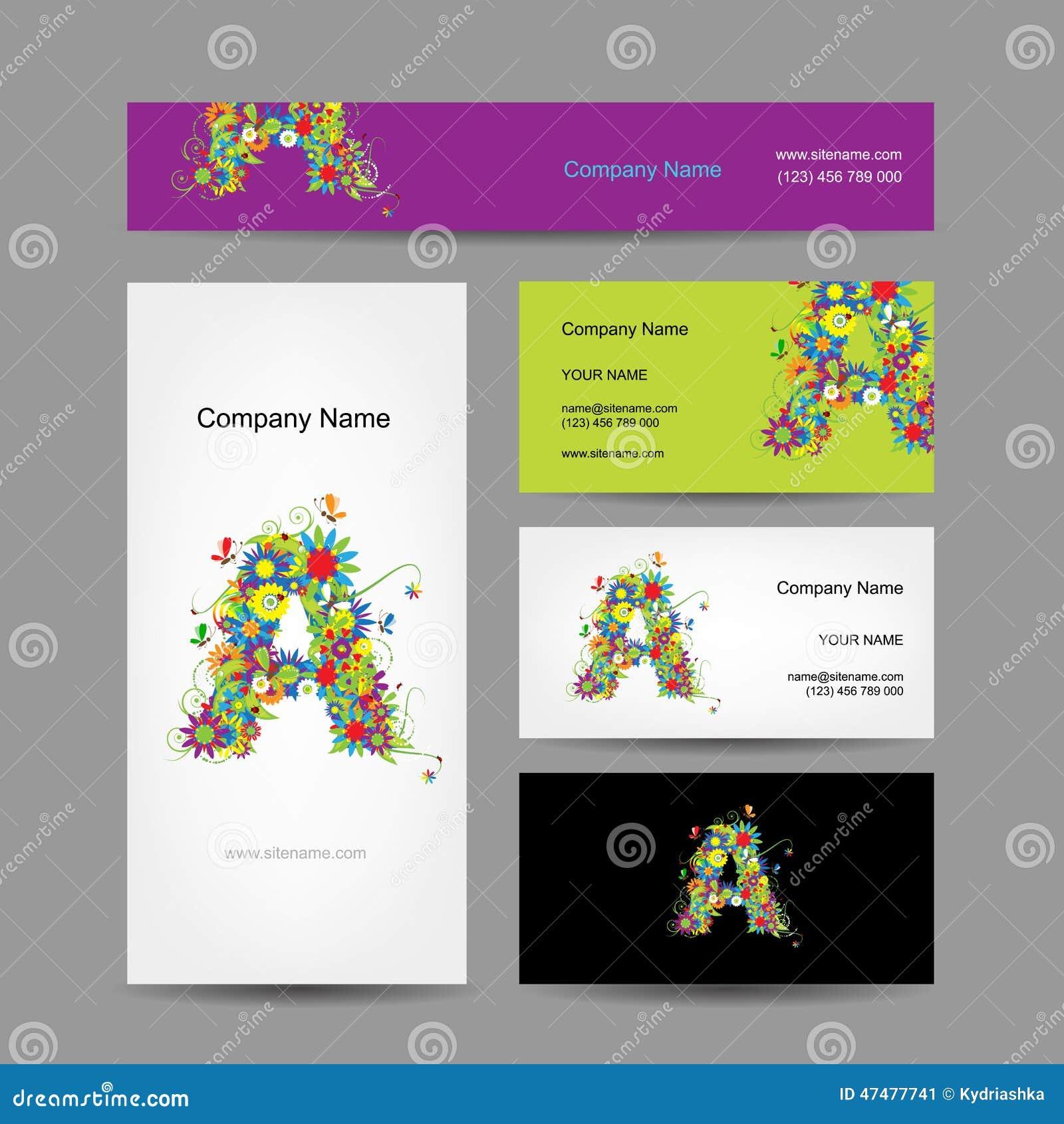 Satz Visitenkarten Mit Blumendesign Des Buchstaben A Vektor