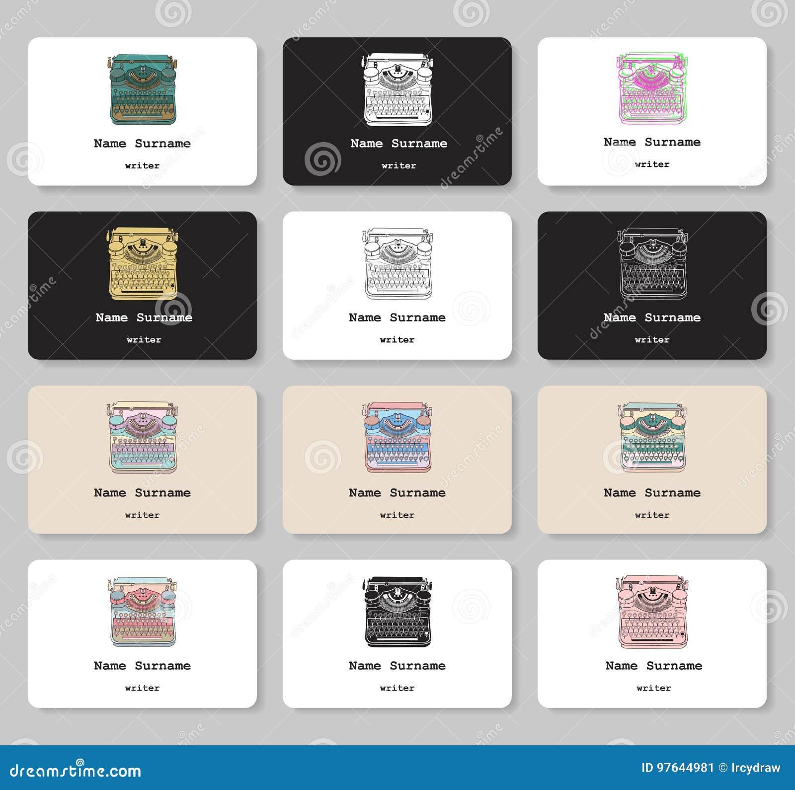 Satz Visitenkarten Mit Hand Gezeichneter