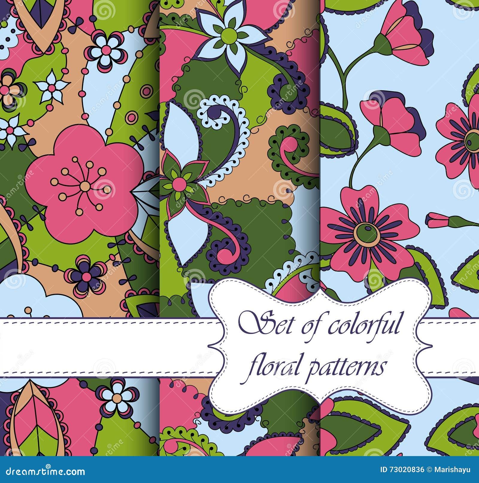 Satz von buntem Blumen der nahtlosen Muster
