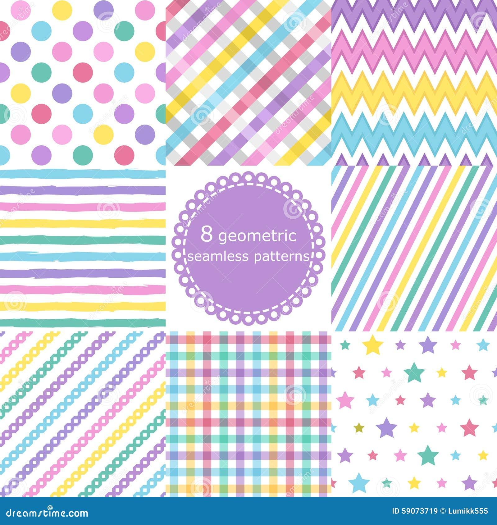 Satz von 8 geometrischen nahtlosen Mustern