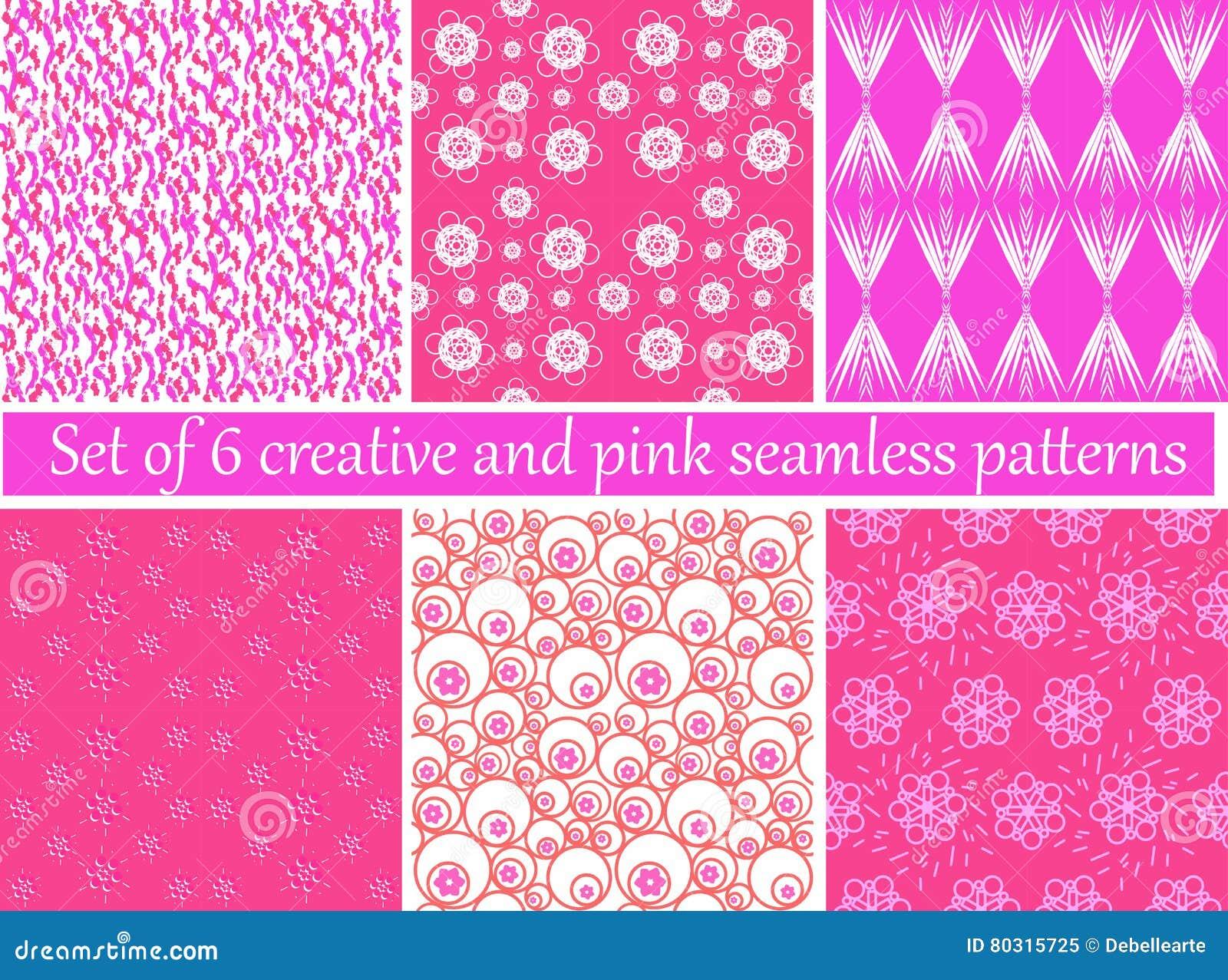 Satz von 6 kreativ und von rosa nahtlosen Mustern