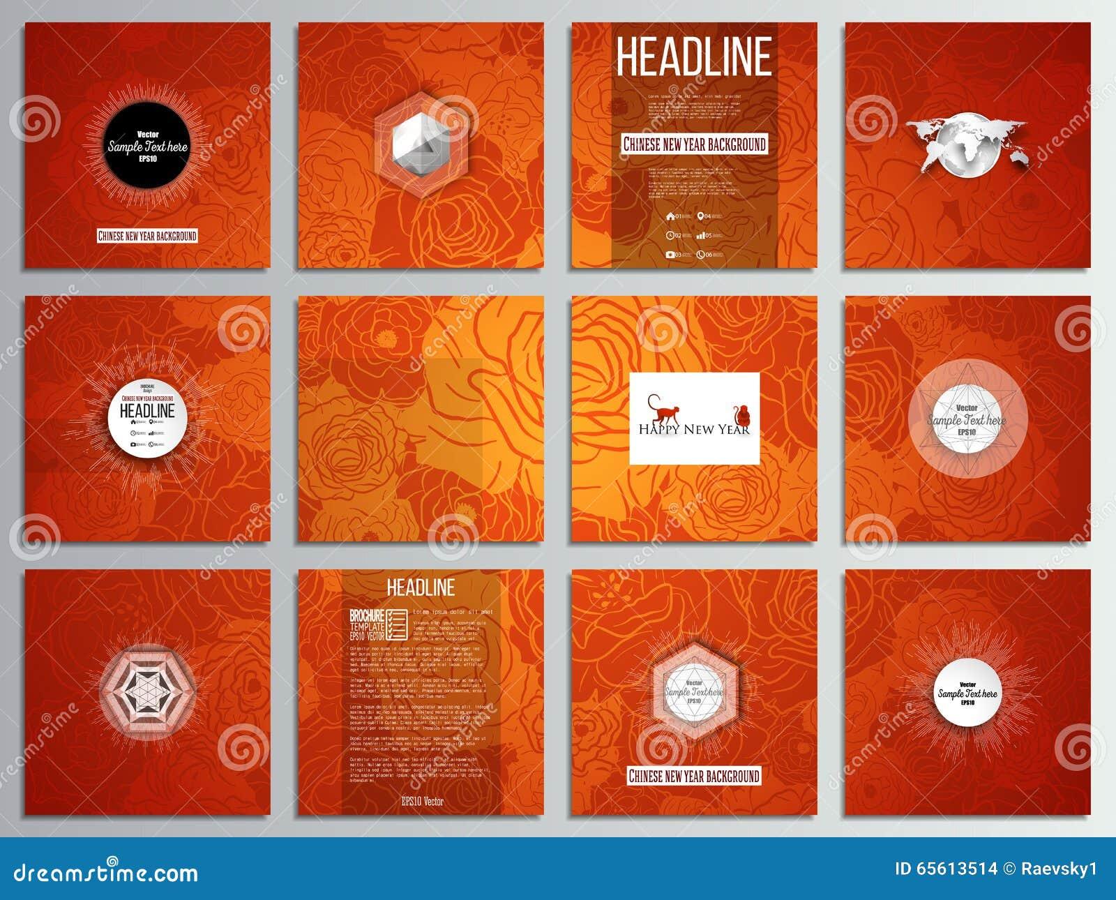 Satz Von 12 Kreativen Karten, Quadratisches ...