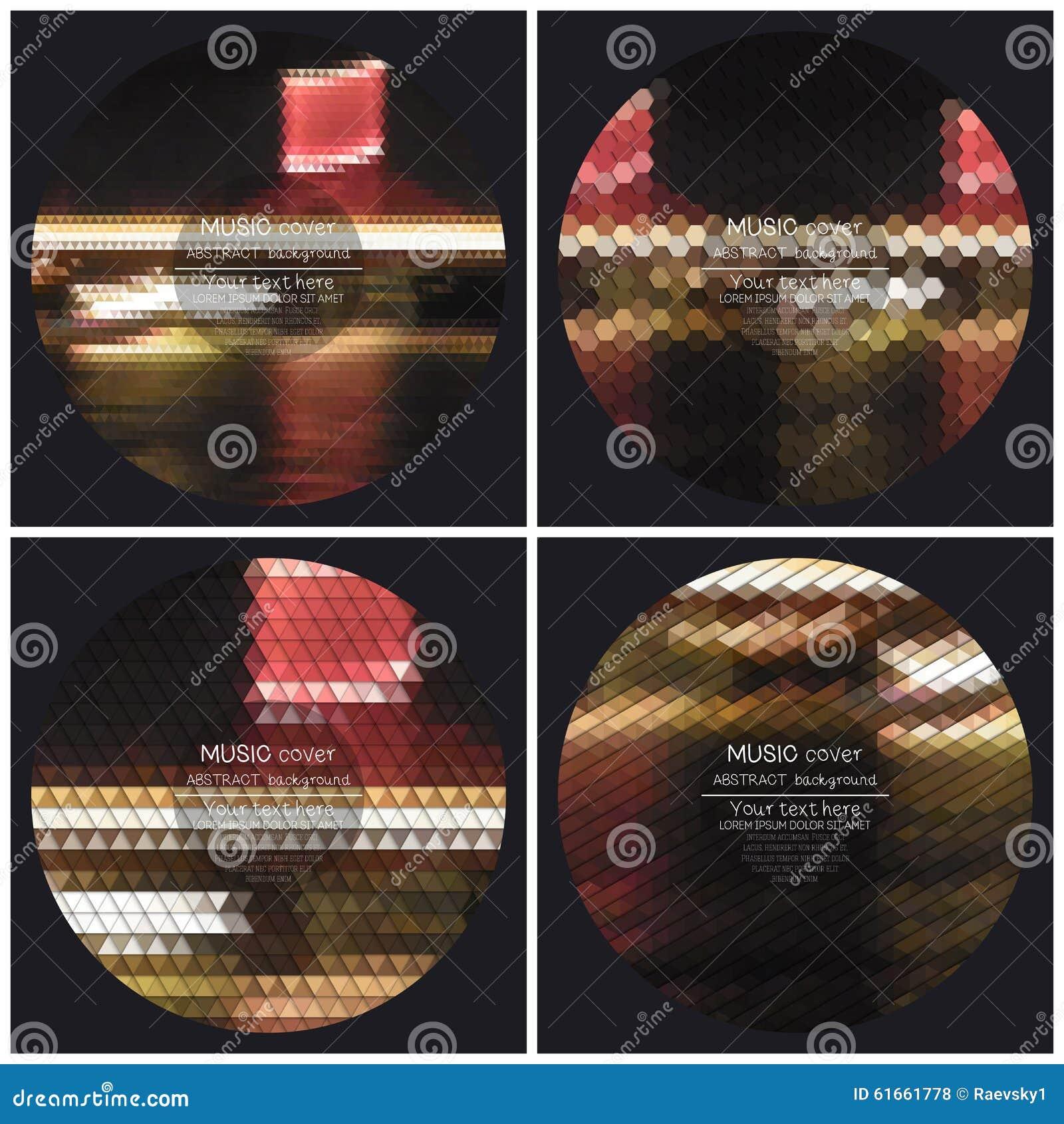 Satz von 4 Musikalbum-Abdeckung Schabloneen