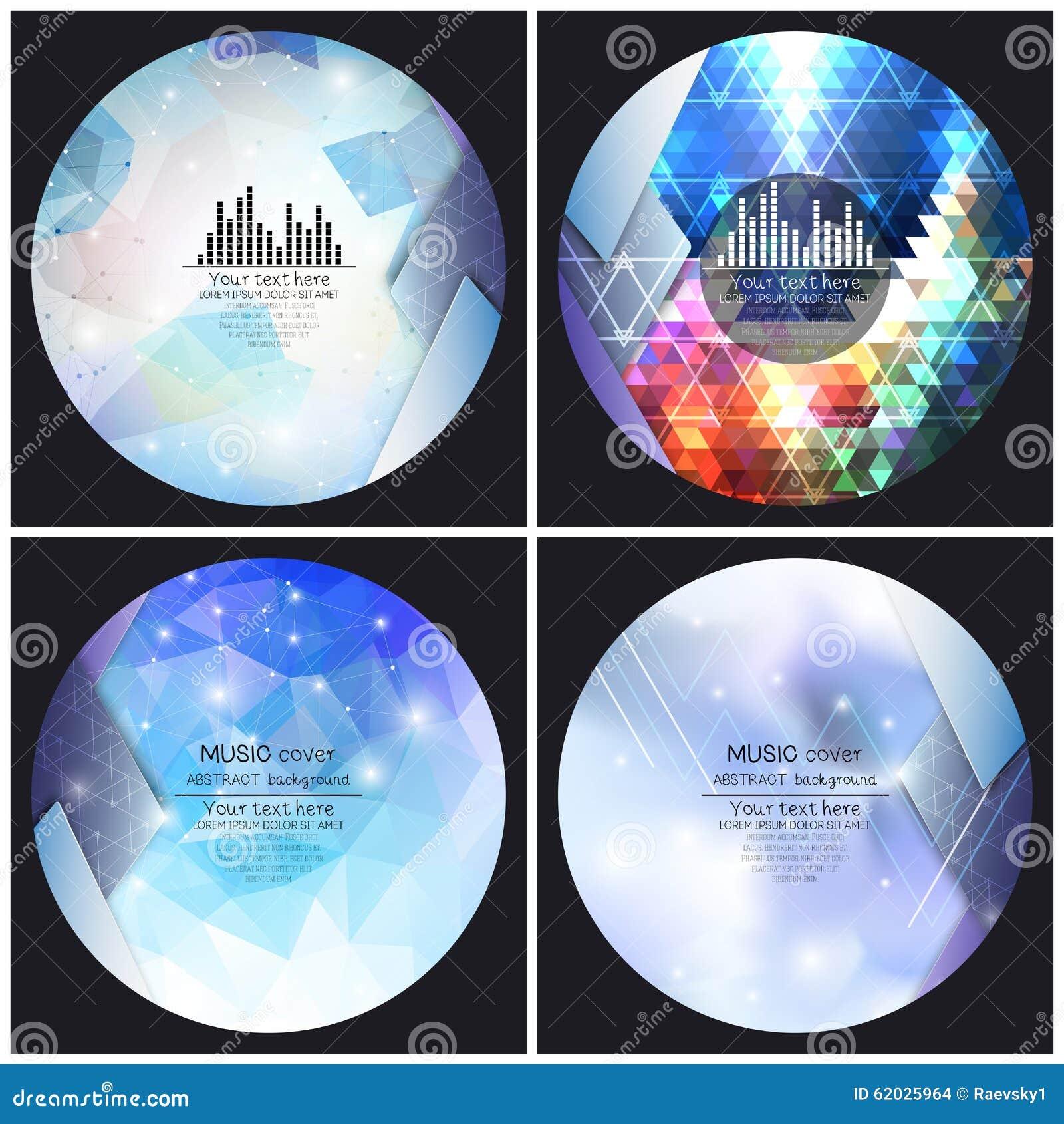 Satz von 4 Musikalbum-Abdeckung Schabloneen Auszug