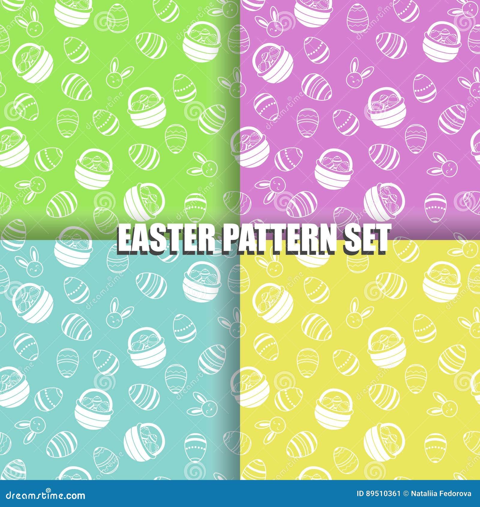 Satz von Ostern-Muster mit unterschiedlicher Farbe der weißen Illustration des Eikorbes und -häschens