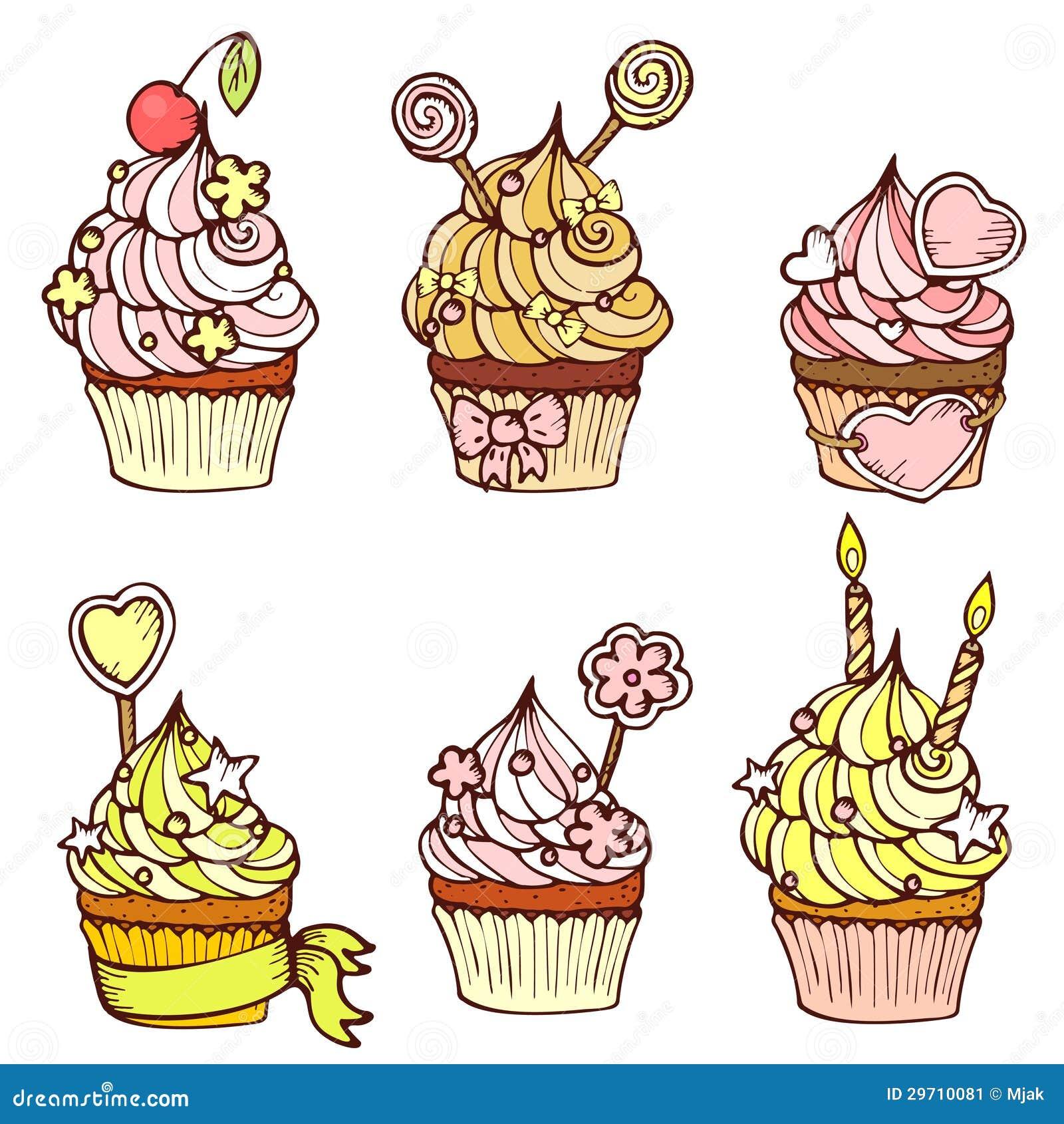 Sechs Hand Gezeichnete Kleine Kuchen Vektor Abbildung Illustration