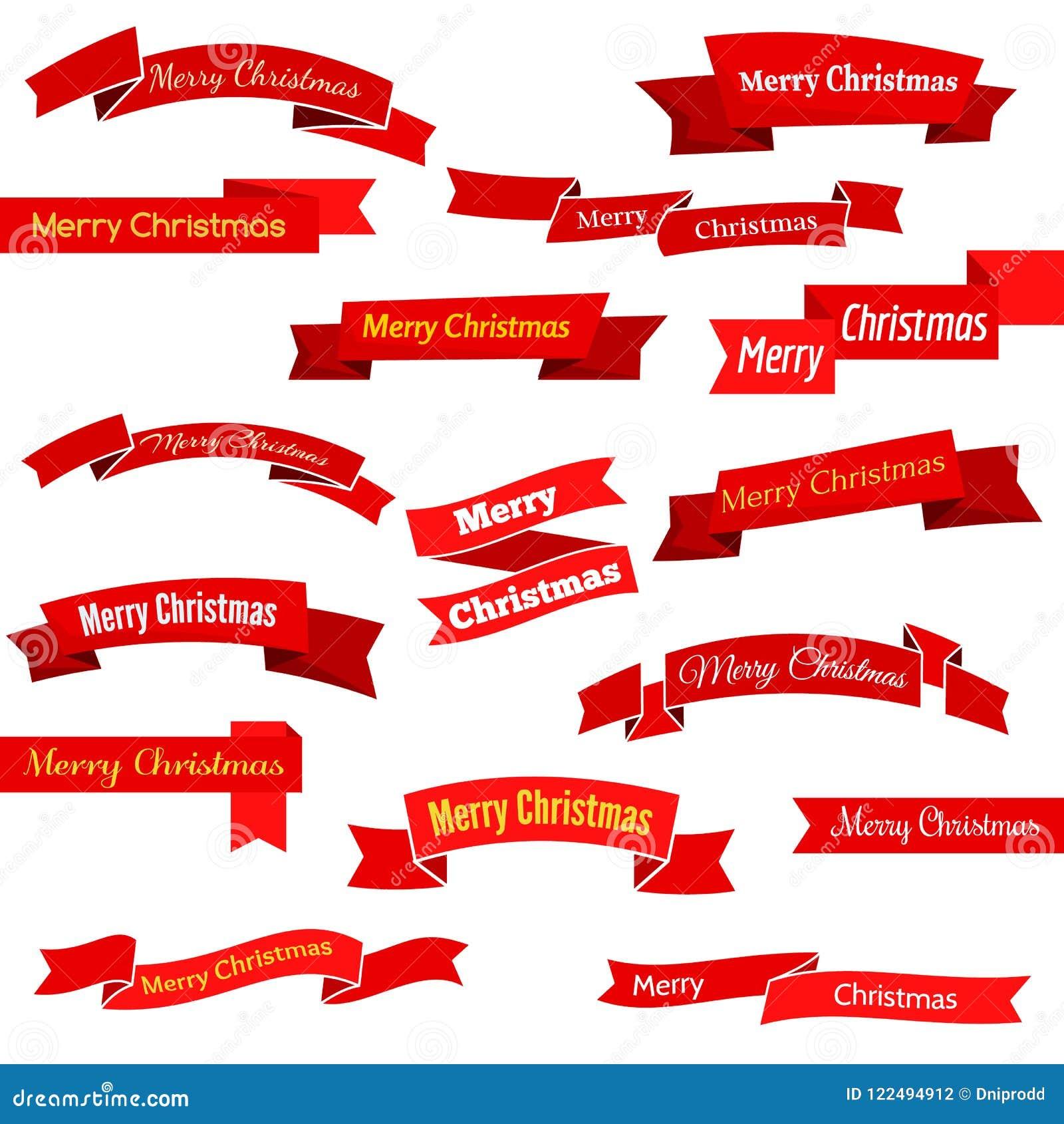 Satz von sechzehn roten Bändern und von Fahnen mit Aufschrift frohen Weihnachten