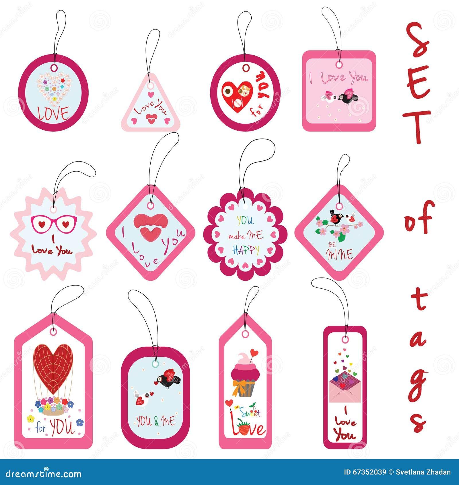 Satz Von Valentine Gift Tags Mit Kleinem Kuchen Liebe Blume Herz
