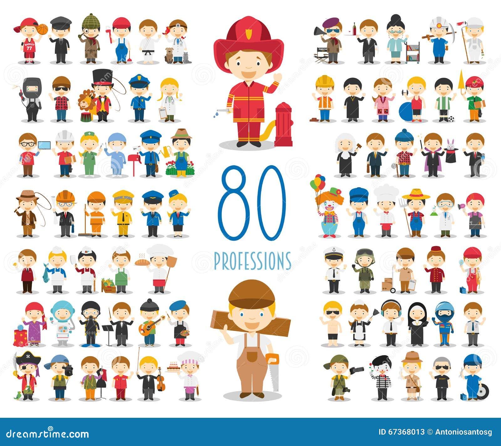 Satz von 80 verschiedenen Berufen in der Karikaturart