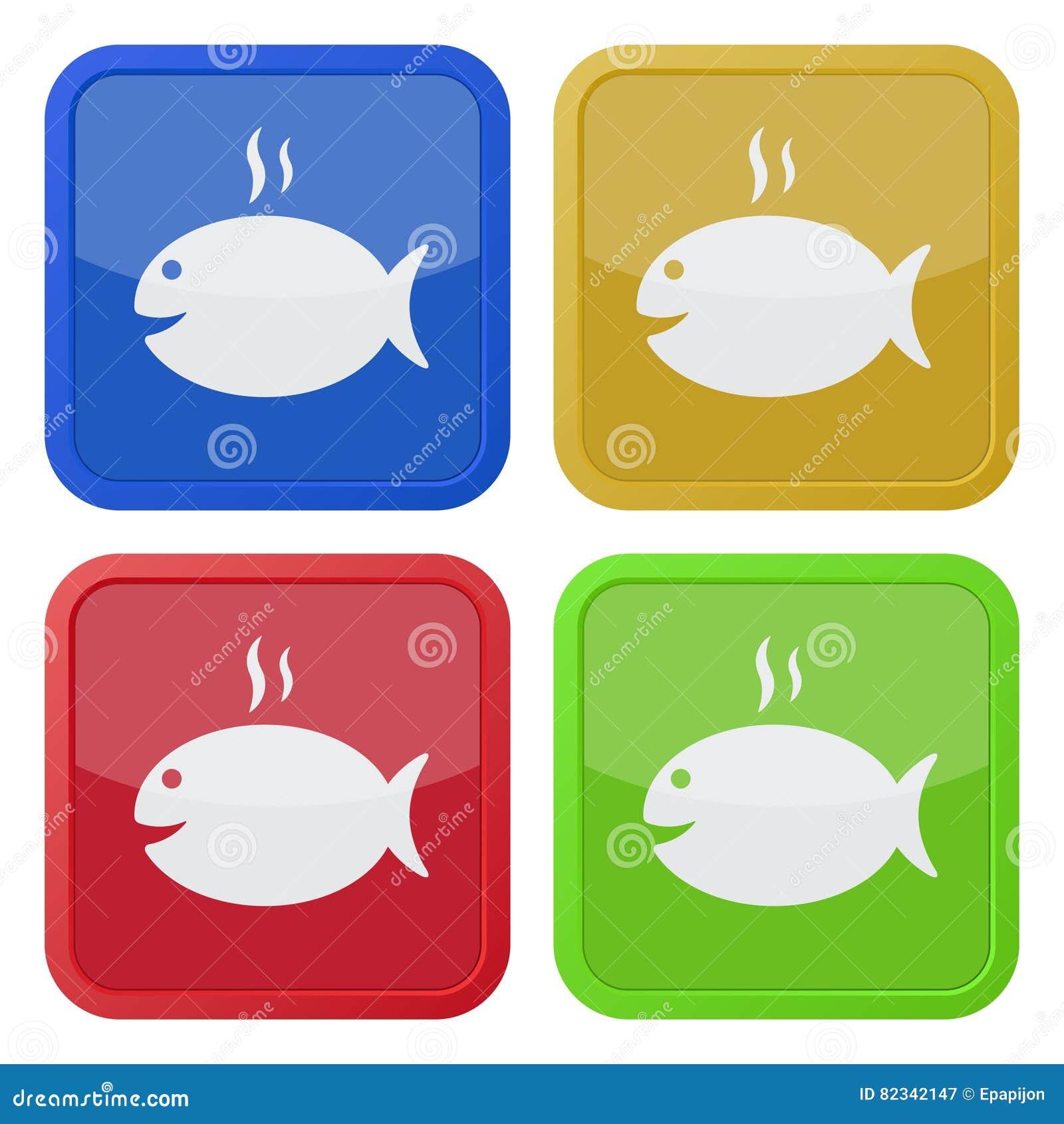 Satz von vier quadratischen Ikonen - Grillen von Fischen und von Rauche