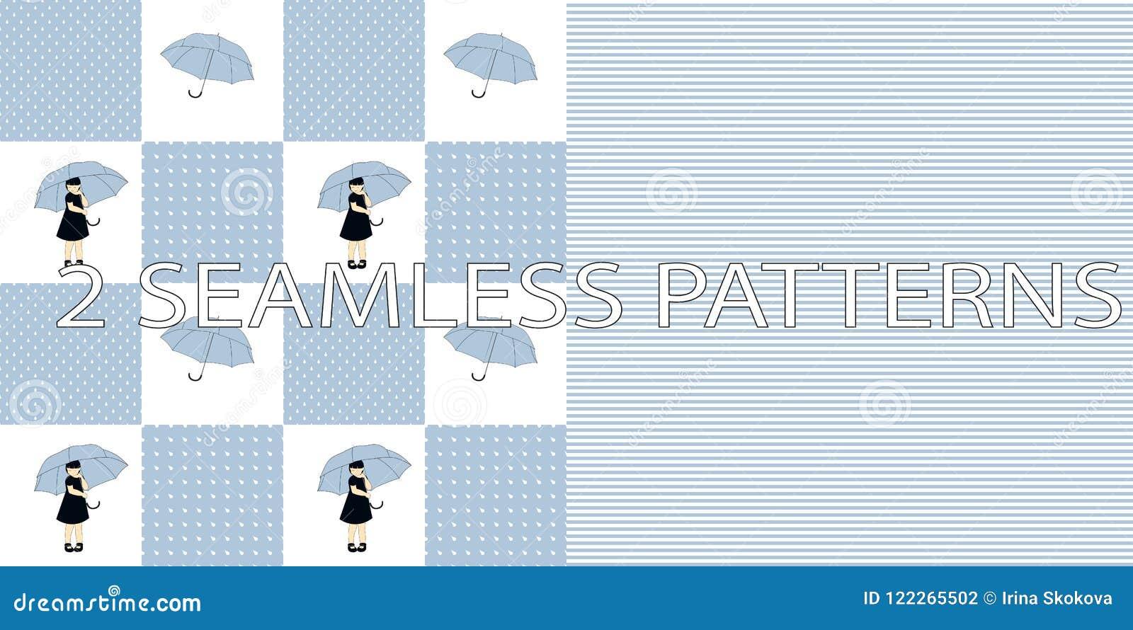 Satz von zwei nahtlosen Mustern in der blauen Farbe