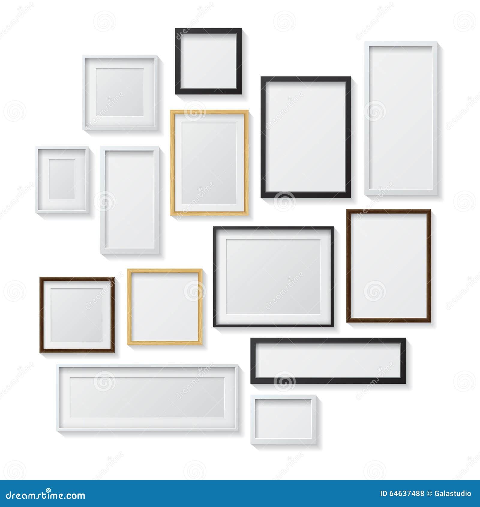 satz wei e und schwarze leere bilderrahmen und stock abbildung bild 64637488. Black Bedroom Furniture Sets. Home Design Ideas
