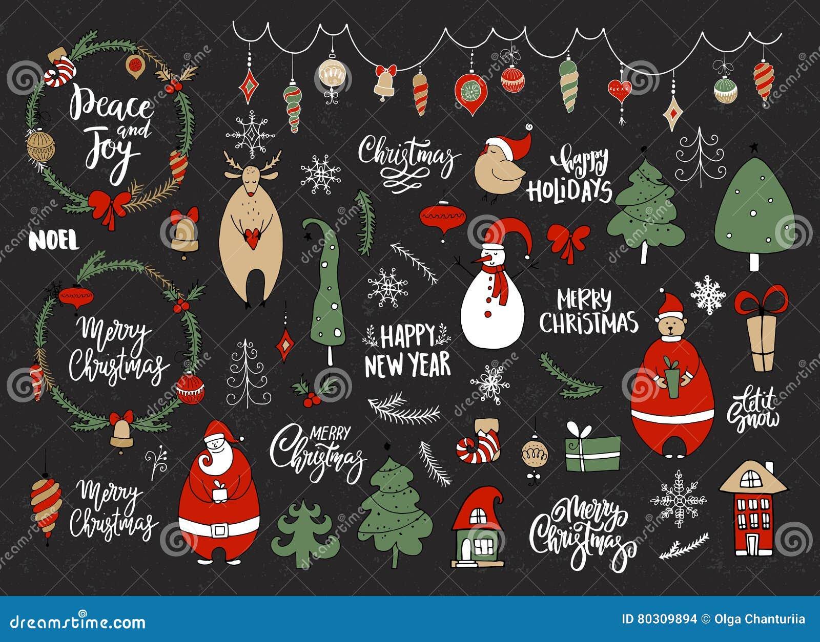 Satz Weihnachten Und Neues Jahr Kritzeln Feiertagscharaktere: Sankt ...