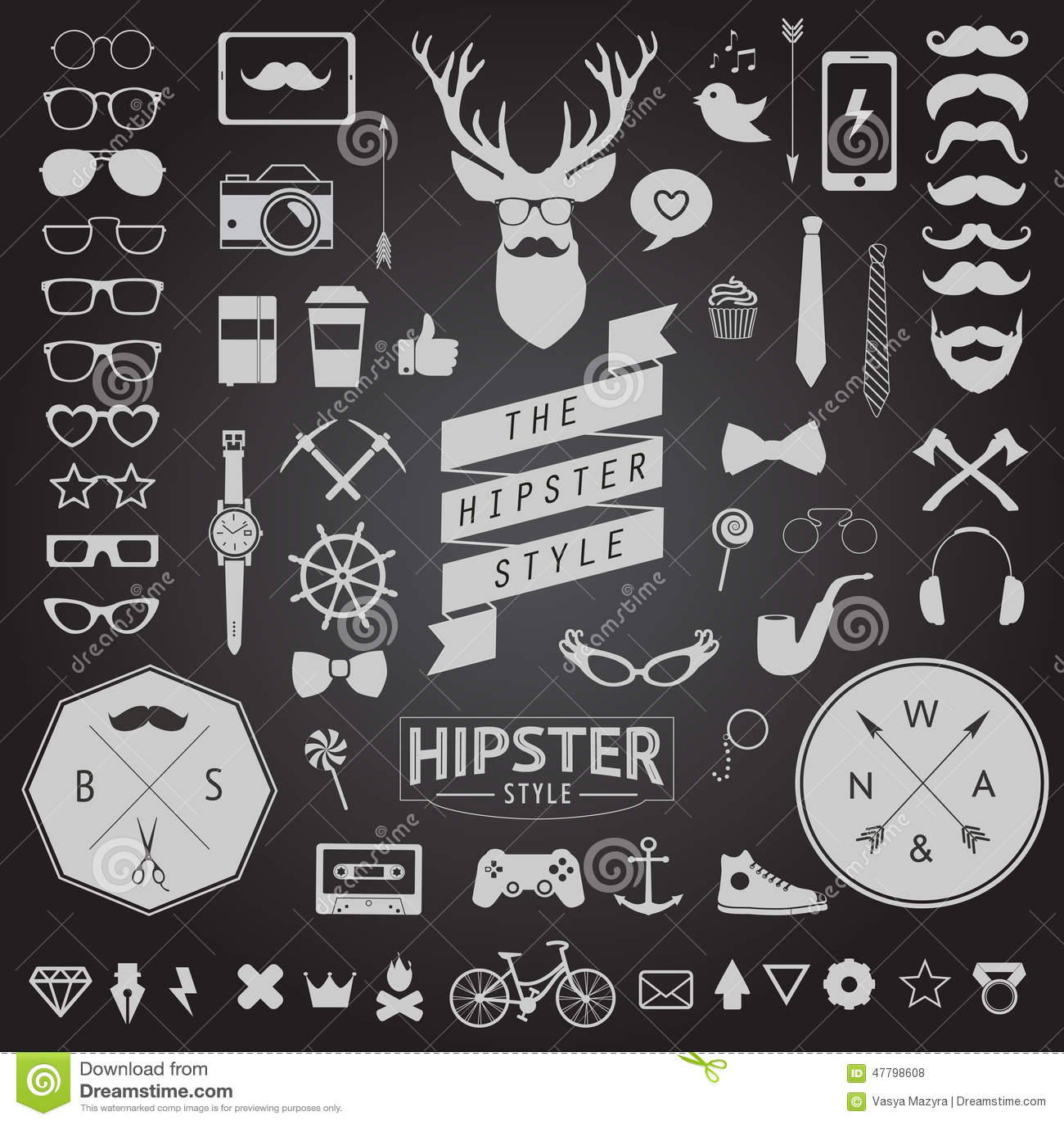 Satz Weinlese angeredete Entwurf Hippie-Ikonen Vektorzeichen und Symbolschablonen