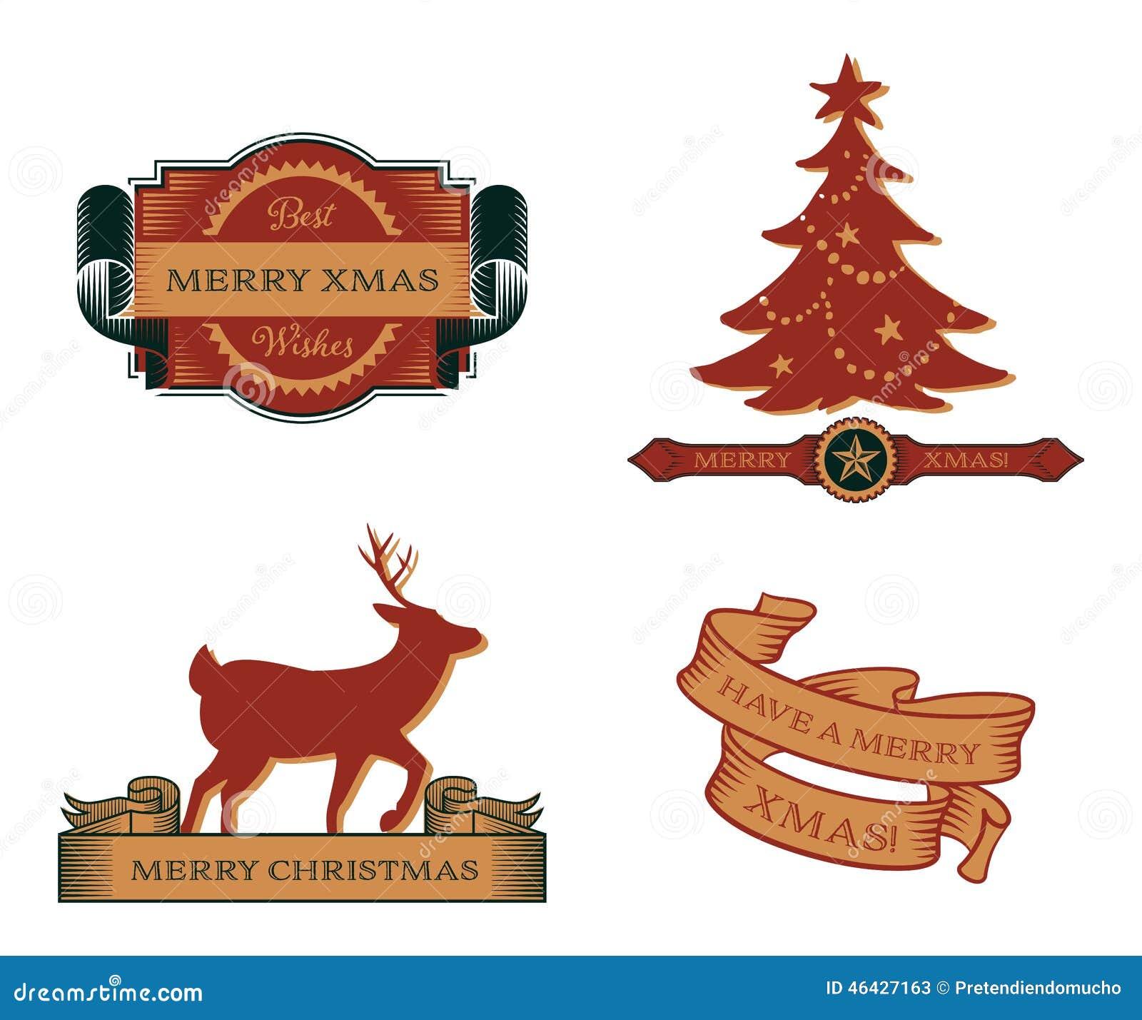 Satz Weinlese-Weihnachtsembleme