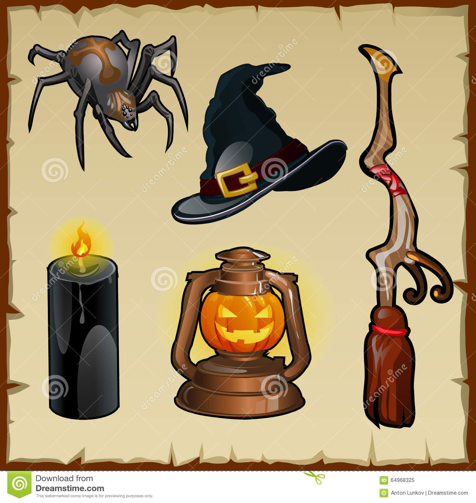 Satz Werkzeuge für Hexen, fünf magische Einzelteile