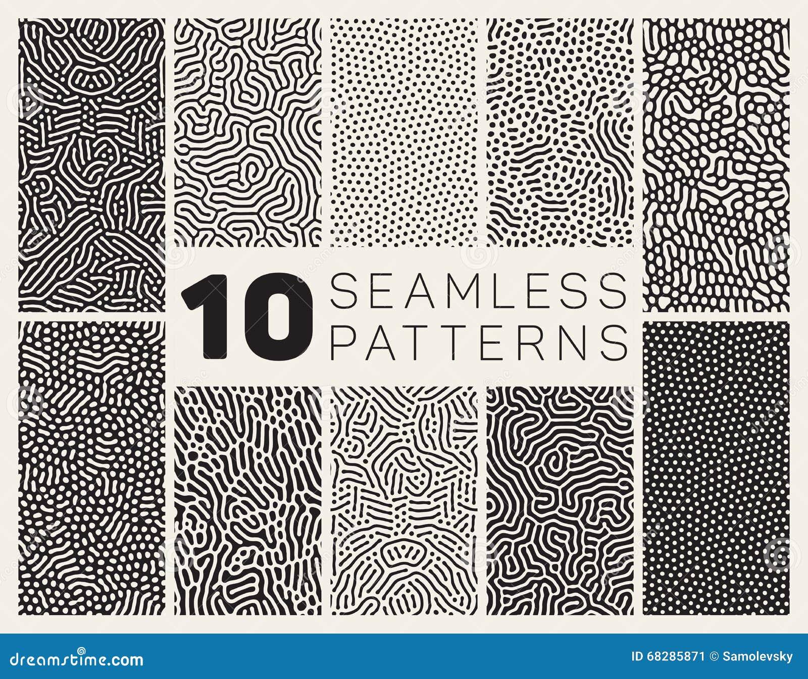 Satz zehn Vektor-nahtloses organisches gerundetes Schwarzweiss-Durcheinander Maze Lines Patterns