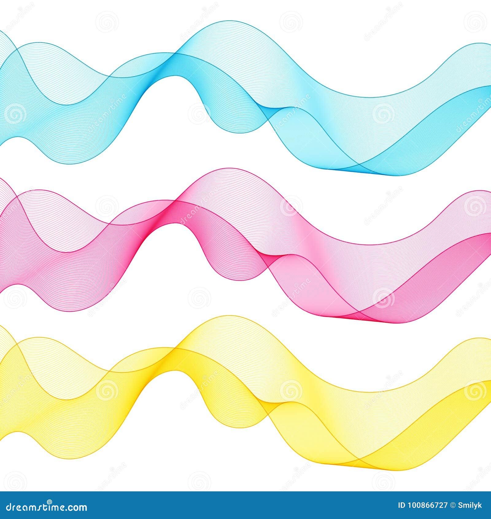 Satz Zusammenfassung lokalisierte blaue, rosa, gelbe Wellen-Linien für Weiß