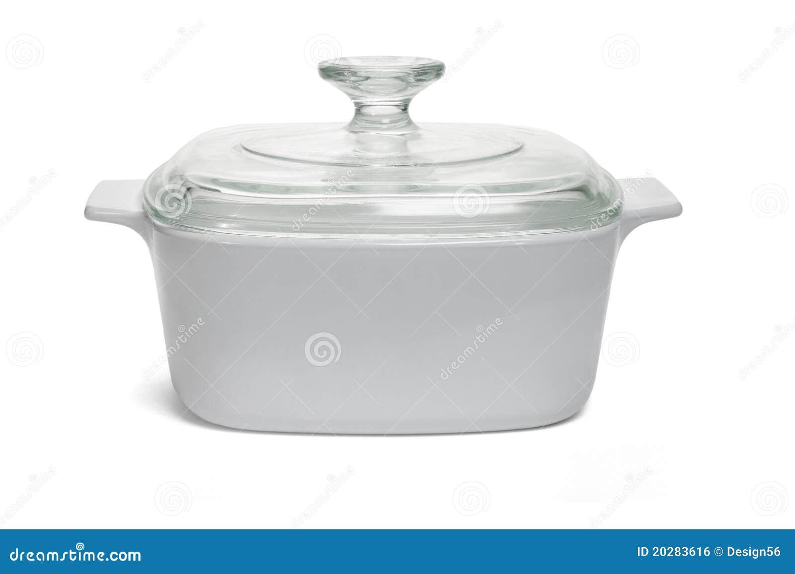 Saucepan branco com tampa de vidro