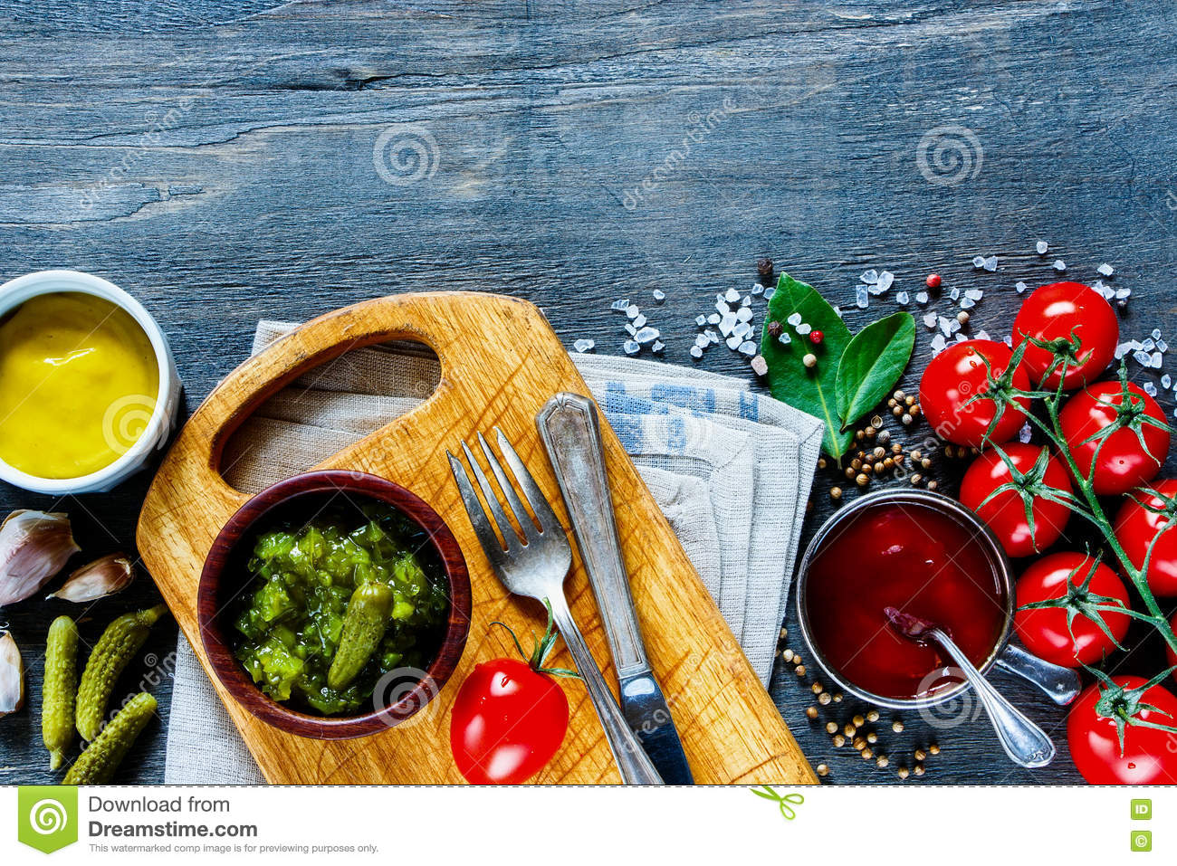 Sauces With Herbs And Spices Stock Image - Image of dried, different ...