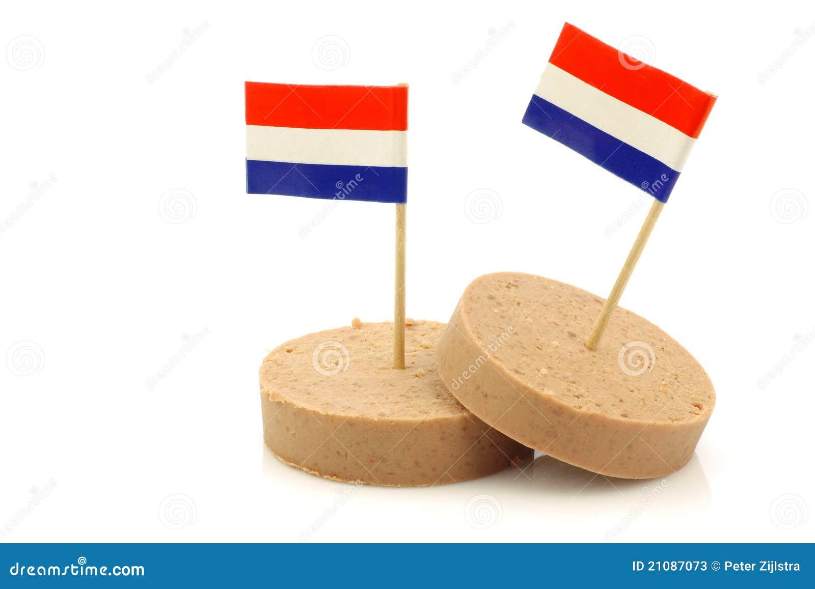 Saucisse de foie hollandaise avec un toothpick hollandais d indicateur