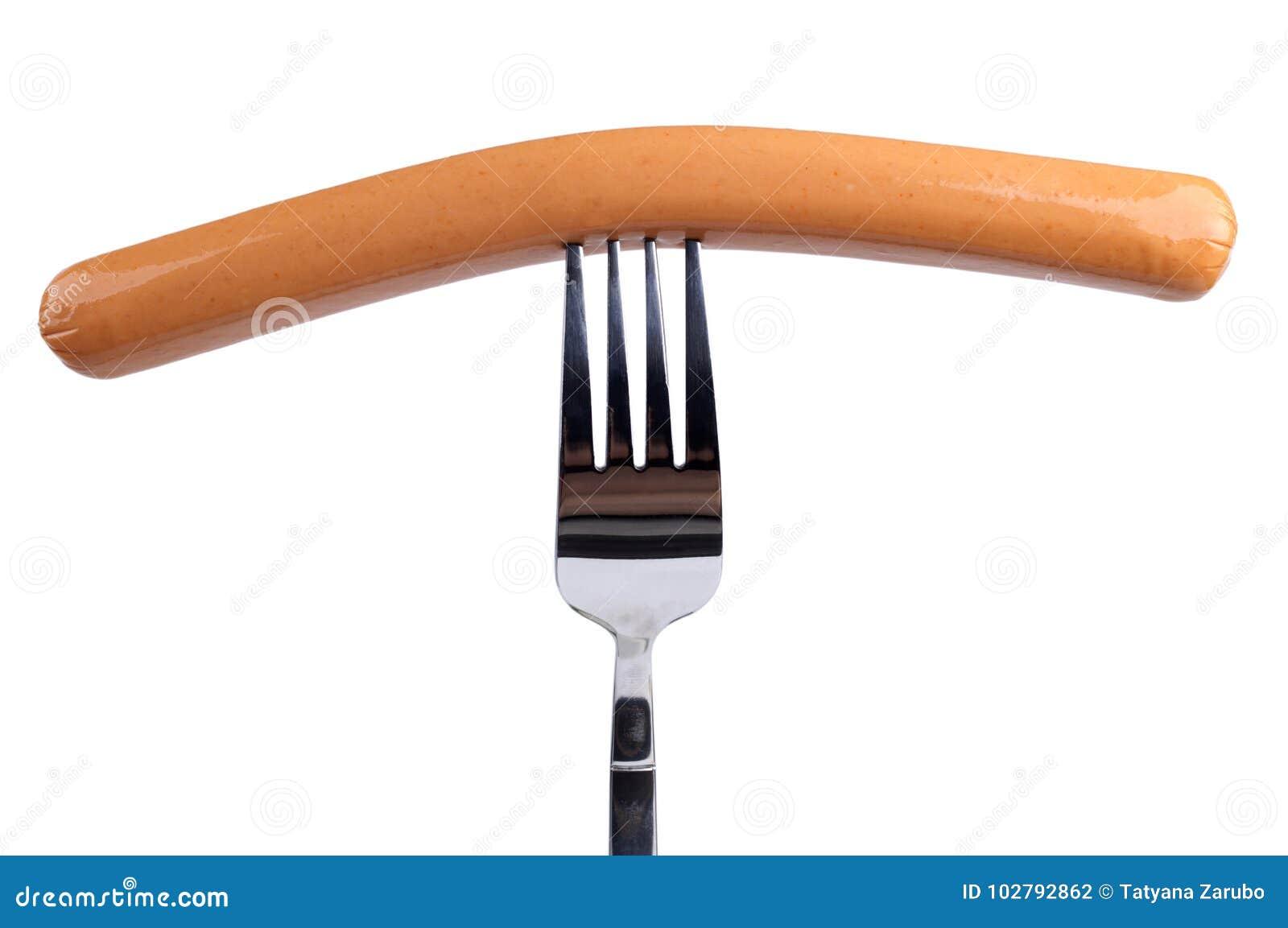 Saucisse de francfort savoureuse sur une fourchette d isolement