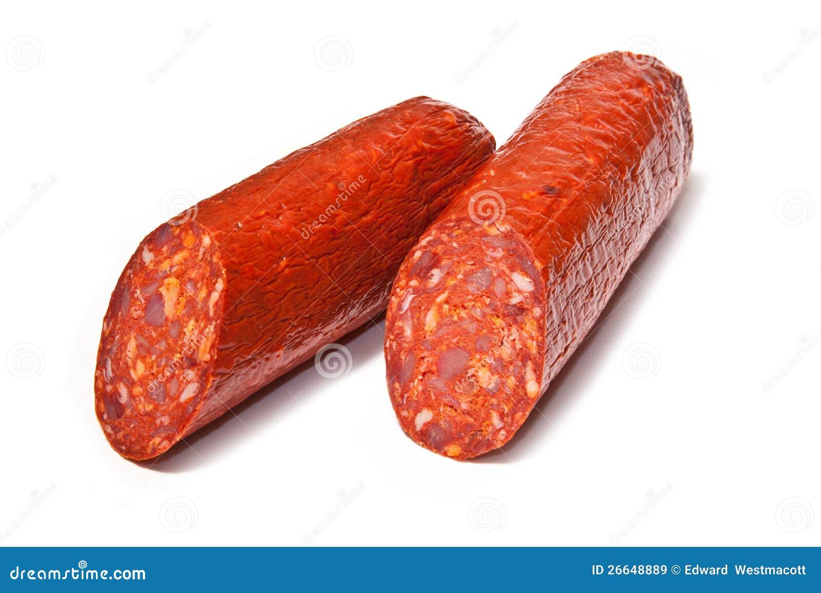 Saucisse divisée en deux de chorizo