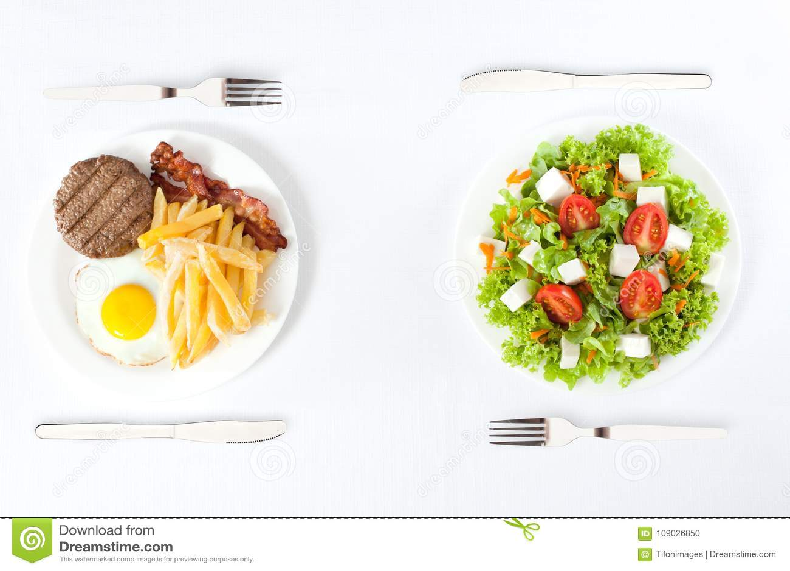 Saudável contra a comida lixo