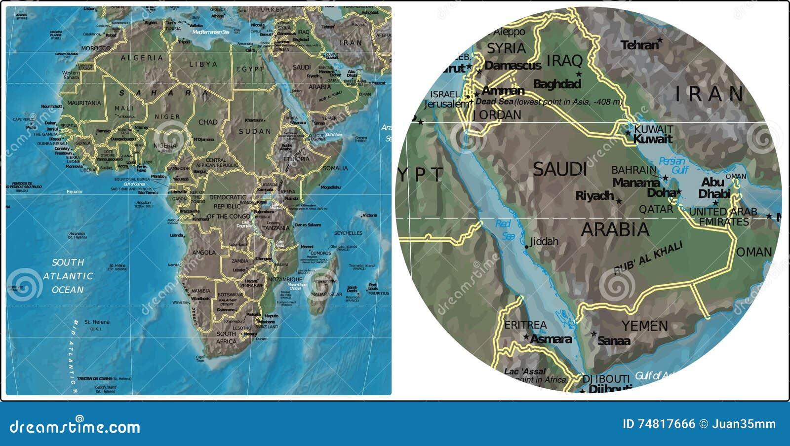 Saudi Arabia And Africa Map Stock Illustration   Illustration of