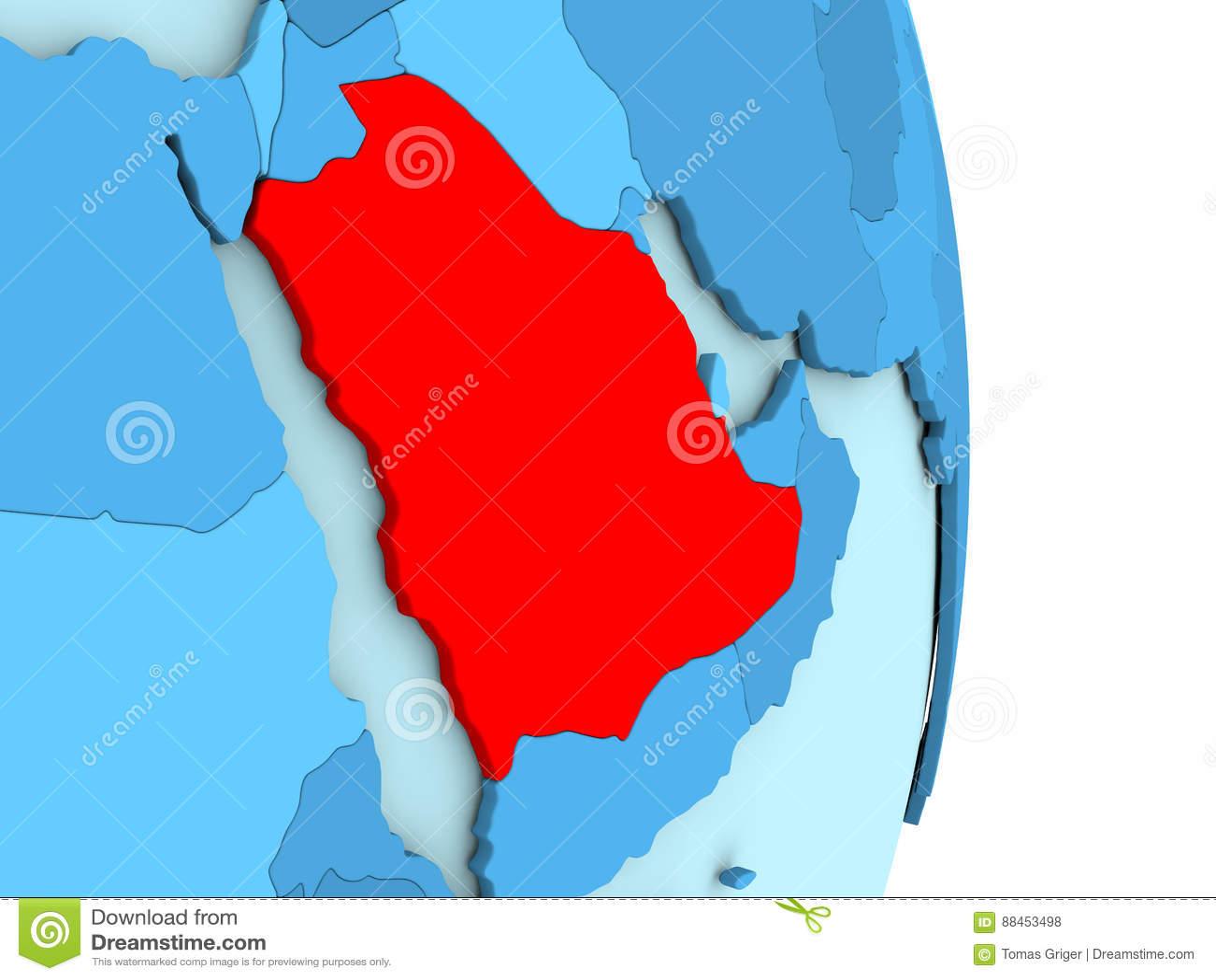 Saudi Arabia On Blue Political Globe Stock Illustration ...