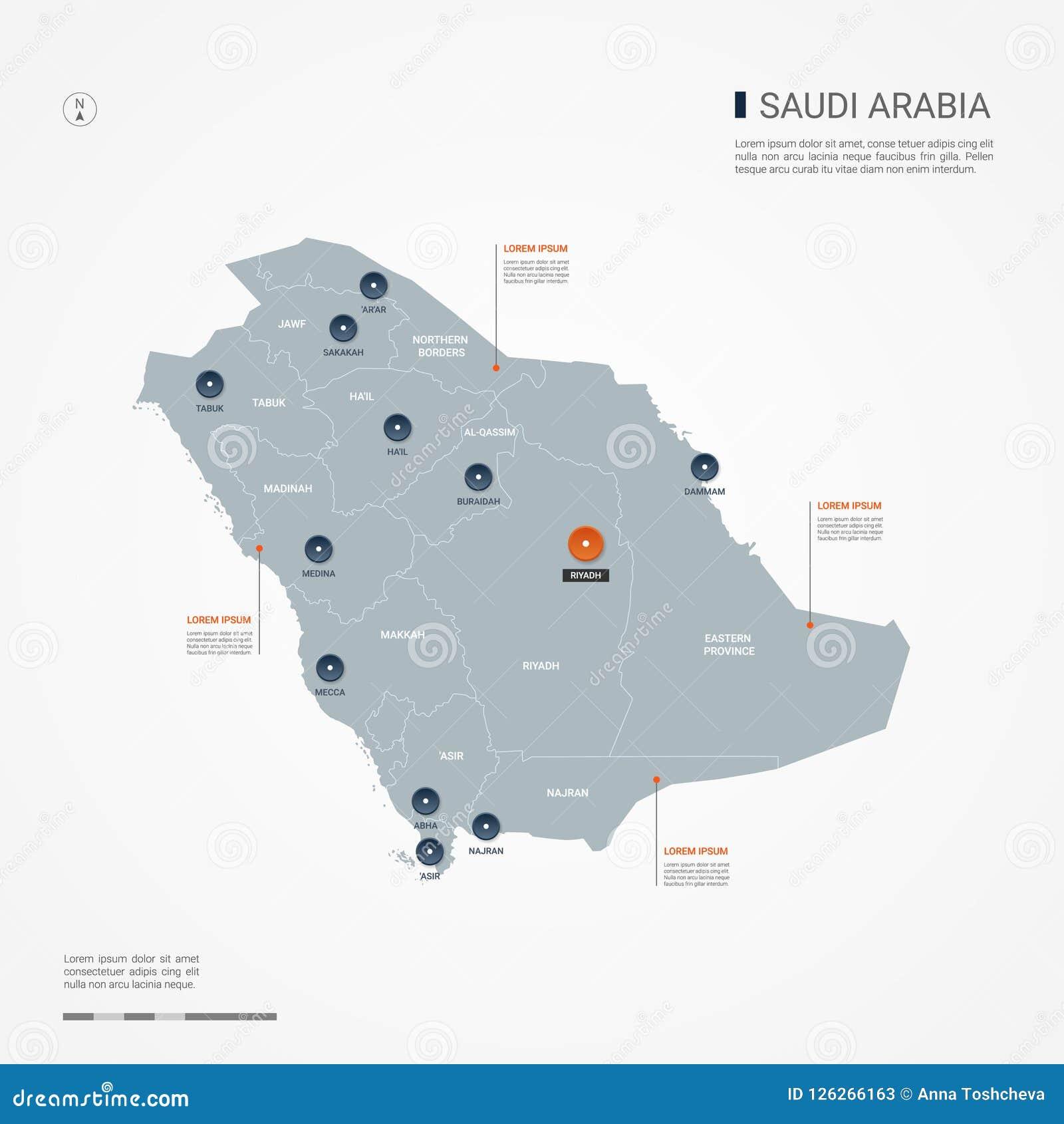 Saudi Arabia Infographic Map Vector Illustration  Stock