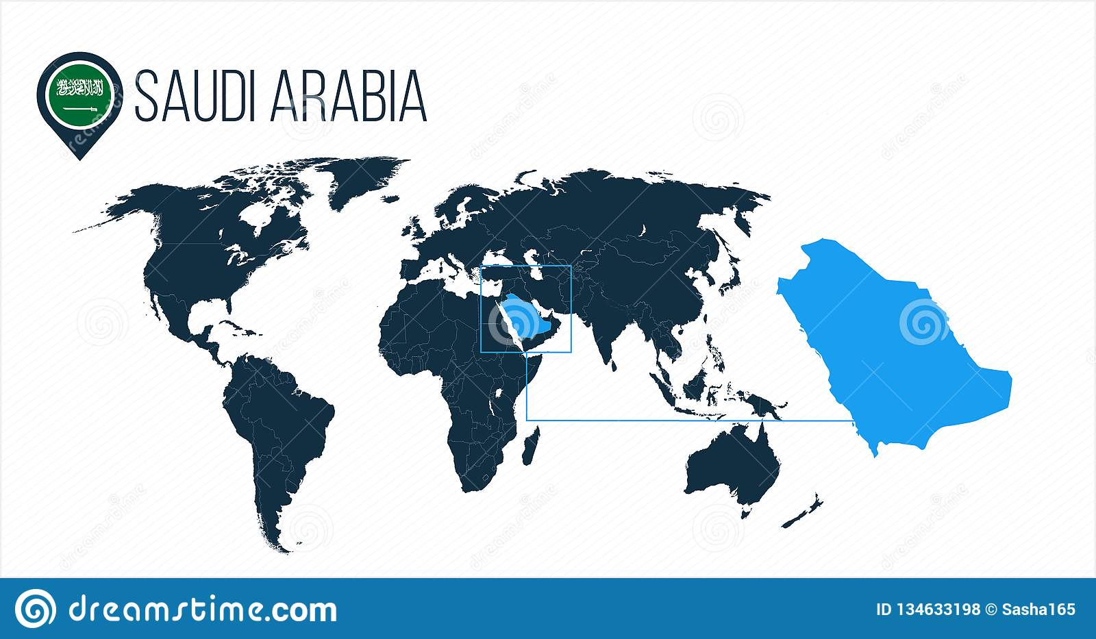 Saudi Arabia Location On The World Map For Infographics All World