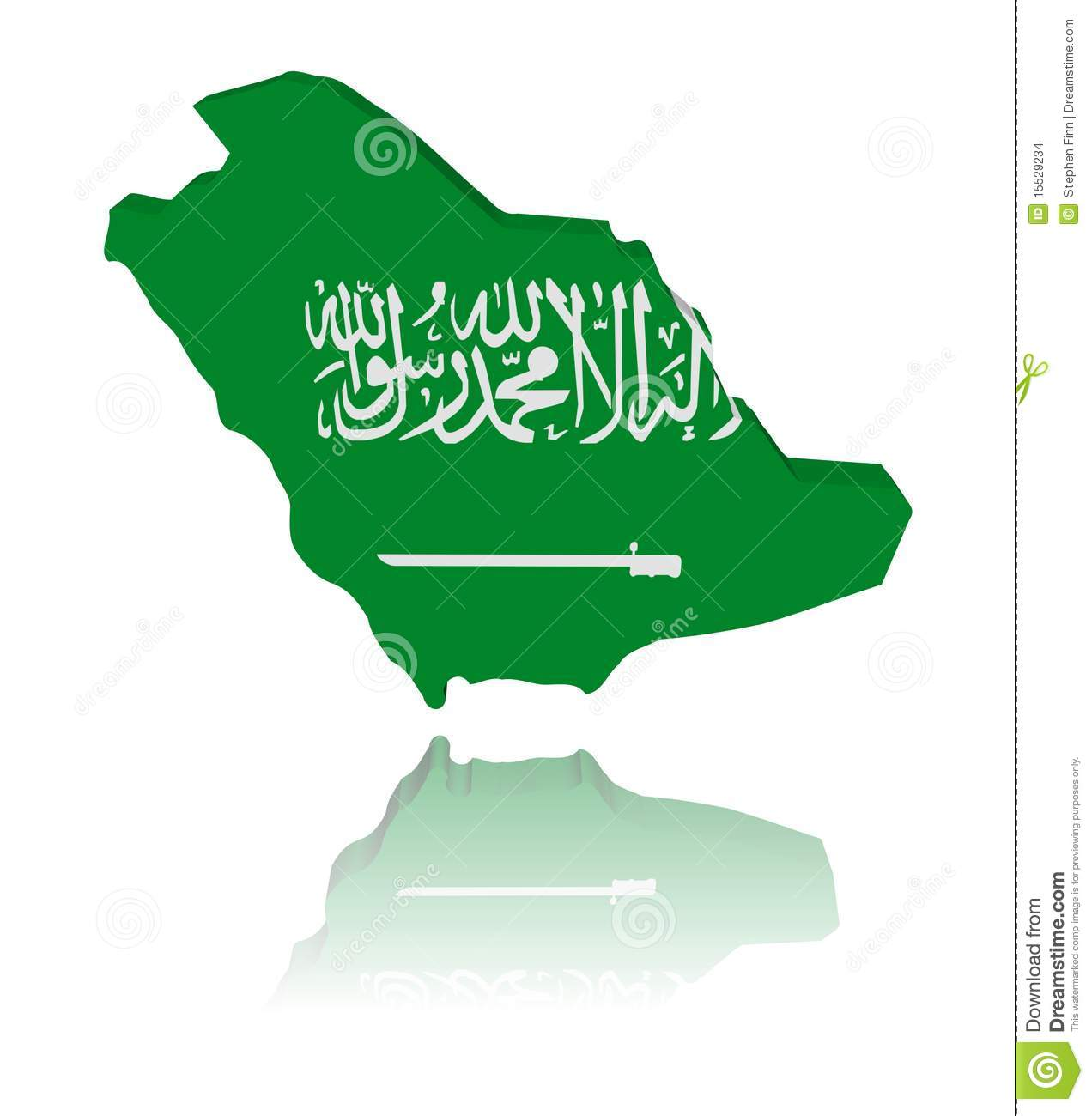 Saudi Arabia Map Flag Reflected Stock Image