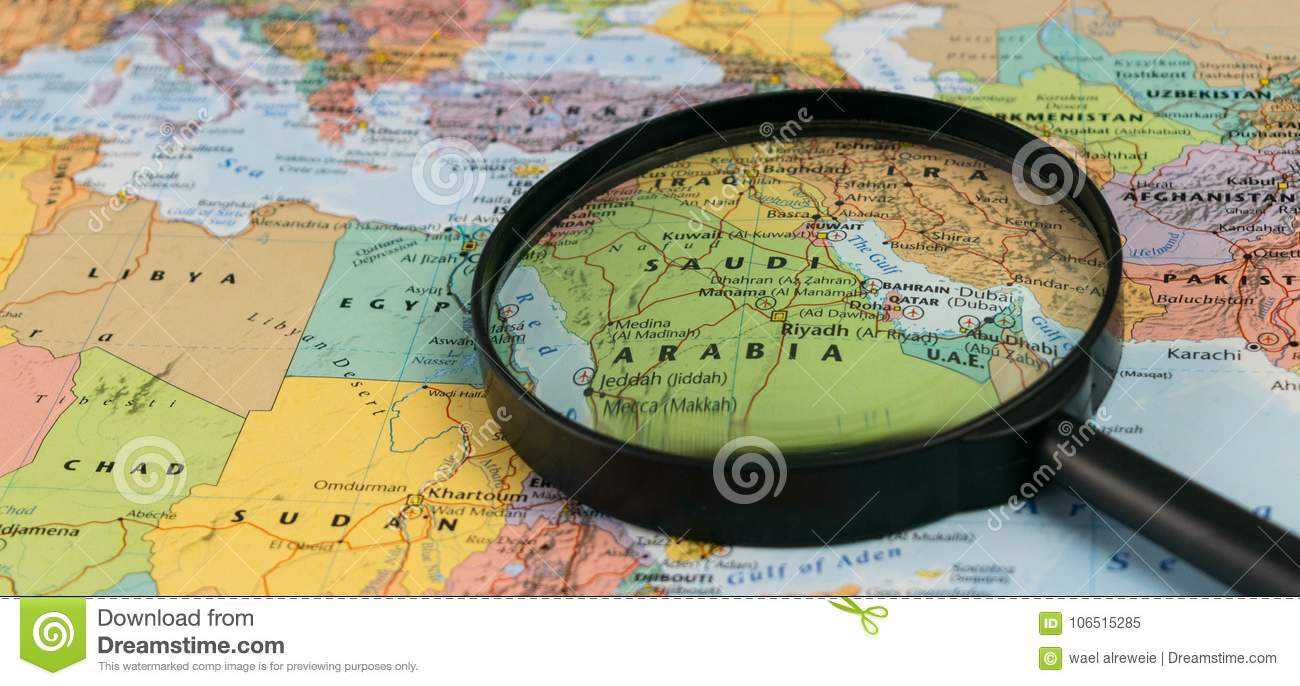Map Of Saudi Arabia Through Magnifying Glass On A World Map. Stock ...