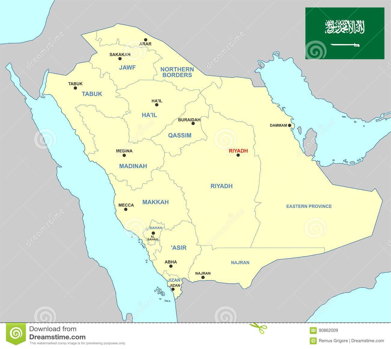Saudi Arabia Map - Cdr Format Stock Vector - Illustration of riyadh ...
